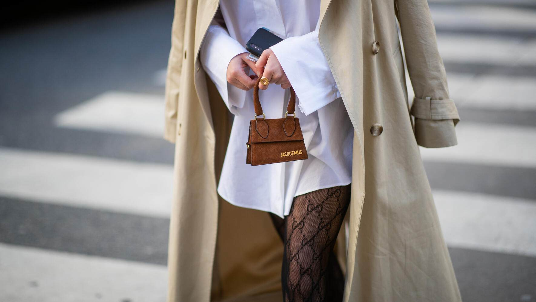 PARIS, FRANCE - JANUARY 20: Tiffany Hsu is seen wearing pink mini Jacquemus bag, beige suit, purple velvet heels utside Acne during Paris Fashion Week - Menswear F/W 2019-2020 Day Six on January 20, 2019 in Paris, France. (Photo by Christian Vierig/Getty Images)