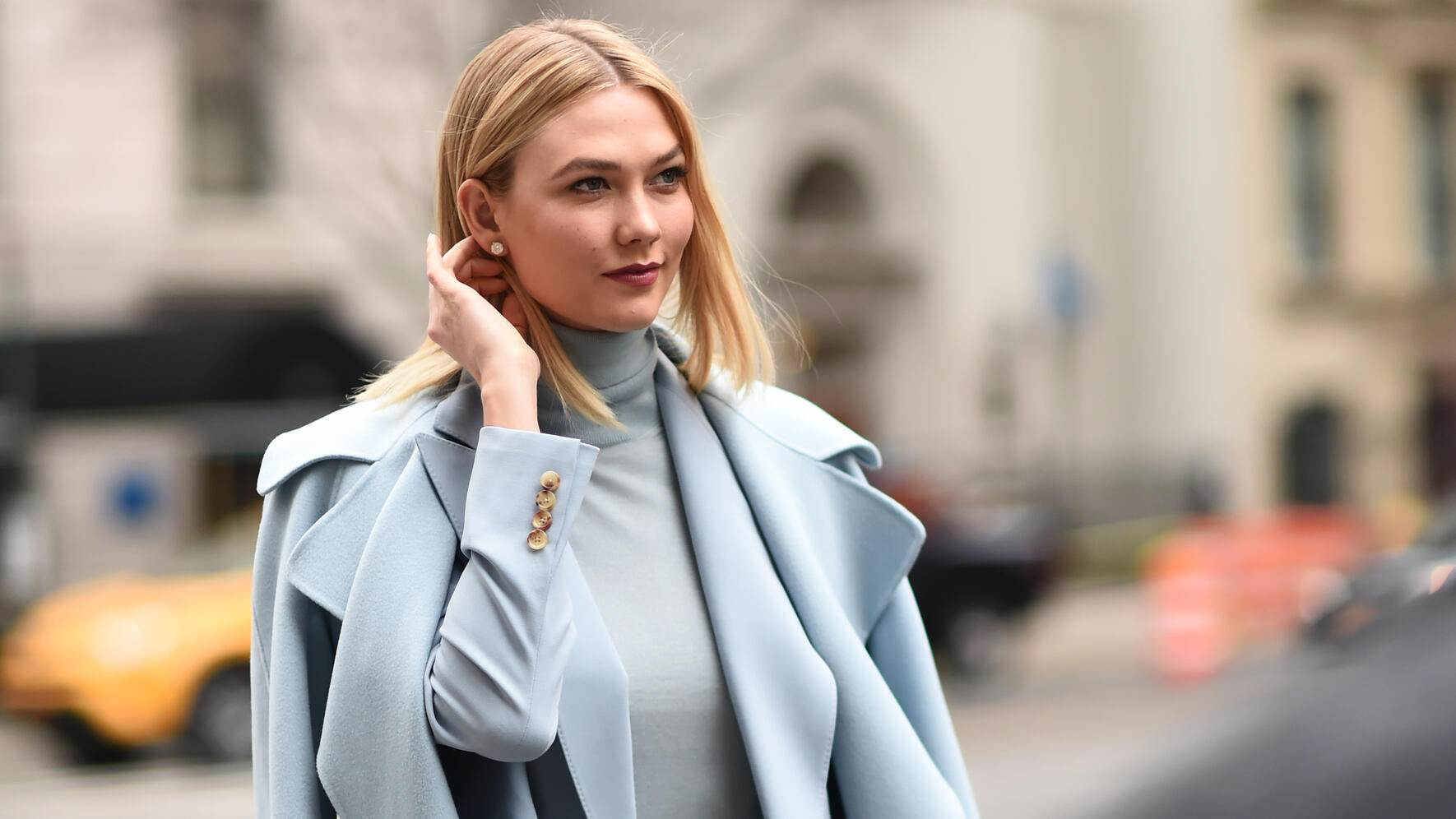 NEW YORK, NEW YORK - FEBRUARY 07: Karlie Kloss is seen wearing a baby blue Ralph Lauren outfit outside the Ralph Lauren show during New York Fashion Week: Women's Fall/Winter 2019 on February 07, 2019 in New York City. (Photo by Daniel Zuchnik/Getty Images)