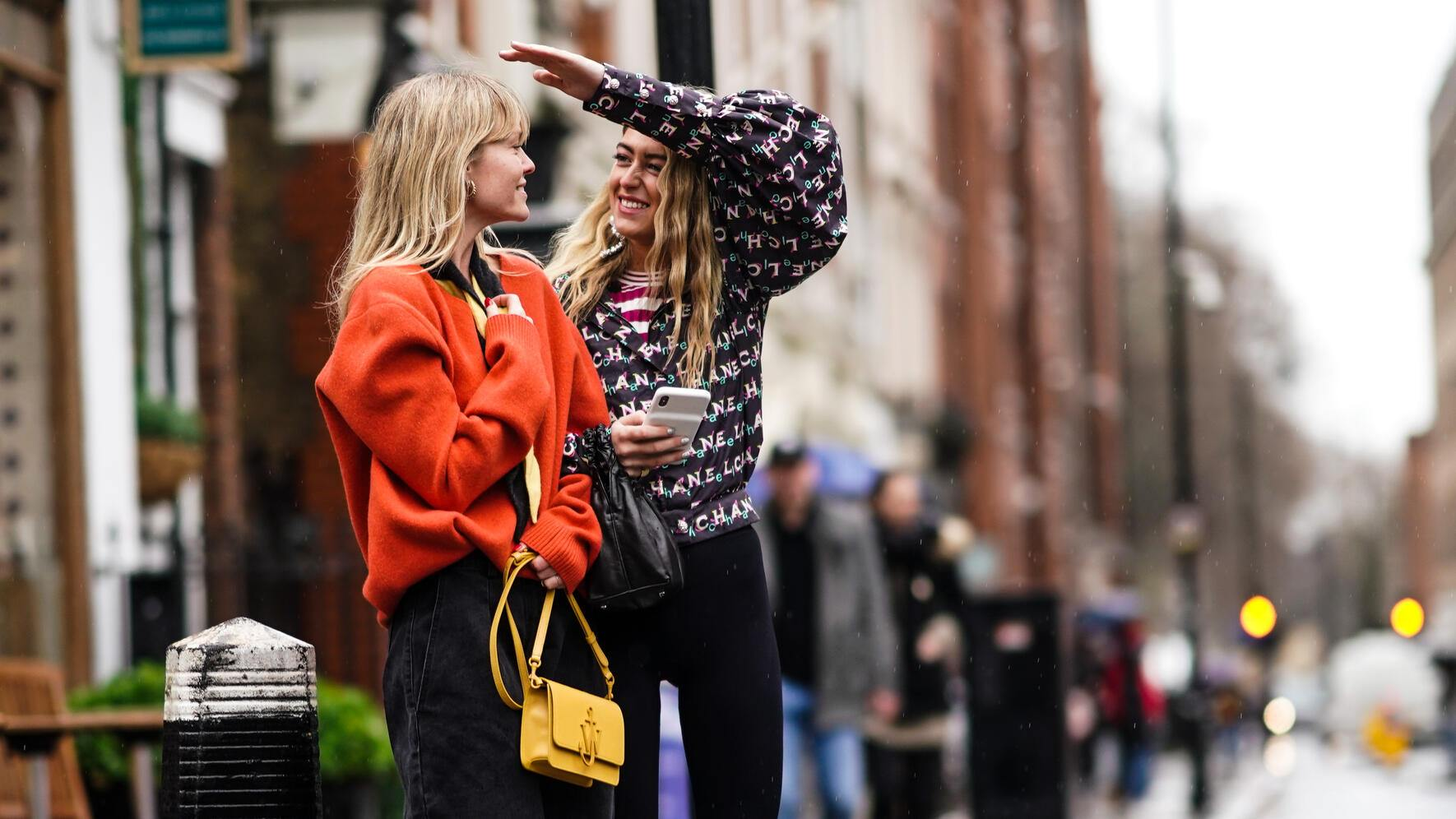 LONDON, ENGLAND - FEBRUARY 18: Jeanette Madsen and Emili Sindlev are seen, during London Fashion Week February 2019 on February 18, 2019 in London, England. (Photo by Edward Berthelot/Getty Images)