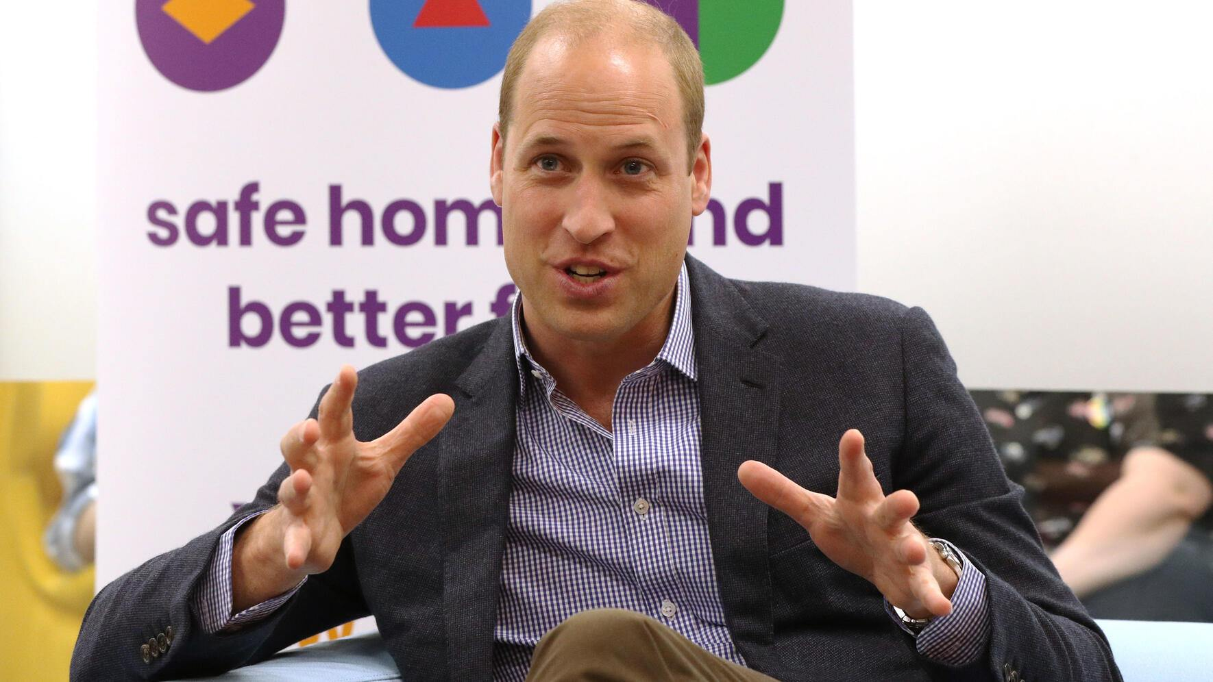 LONDON, ENGLAND - JUNE 26: Prince William, Duke of Cambridge speaks to former and current service users during a visit to the Albert Kennedy Trust to learn about the issue of LGBTQ youth homelessness and the unique approach that the organisation is taking to tackling the problem on June 26, 2019 in London, England. (Photo by Jonathan Brady - WPA Pool/Getty Images)
