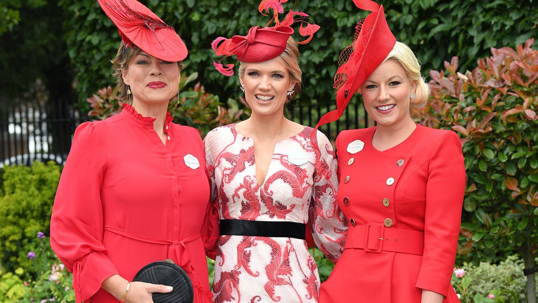 ASCOT, ENGLAND - JUNE 18: Kate Silverton, Charlotte Hawkins and Natalie Rushdie attend day one of Royal Ascot at Ascot Racecourse on June 18, 2019 in Ascot, England. (Photo by Karwai Tang/WireImage)