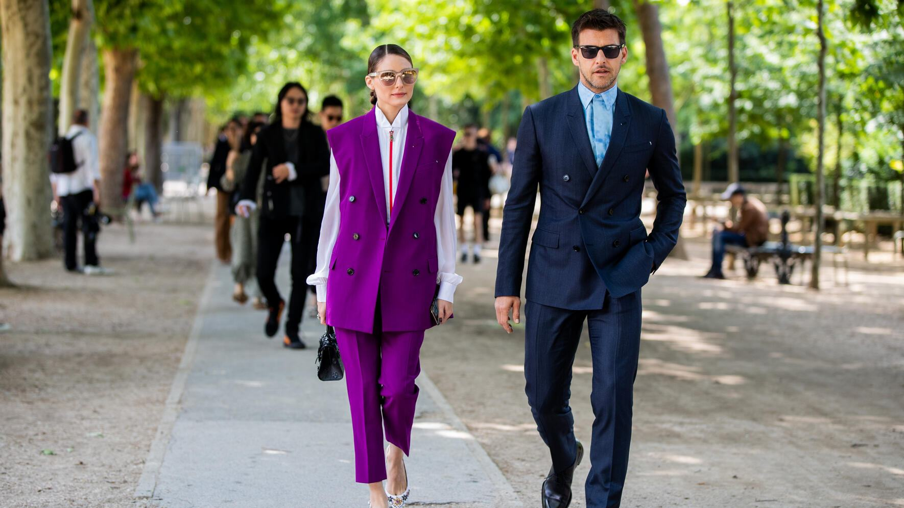 PARIS, FRANCE - JUNE 21: Couple Olivia Palermo and Johannes Huebl seen outside Berluti during Paris Fashion Week - Menswear Spring/Summer 2020 on June 21, 2019 in Paris, France. (Photo by Christian Vierig/Getty Images)