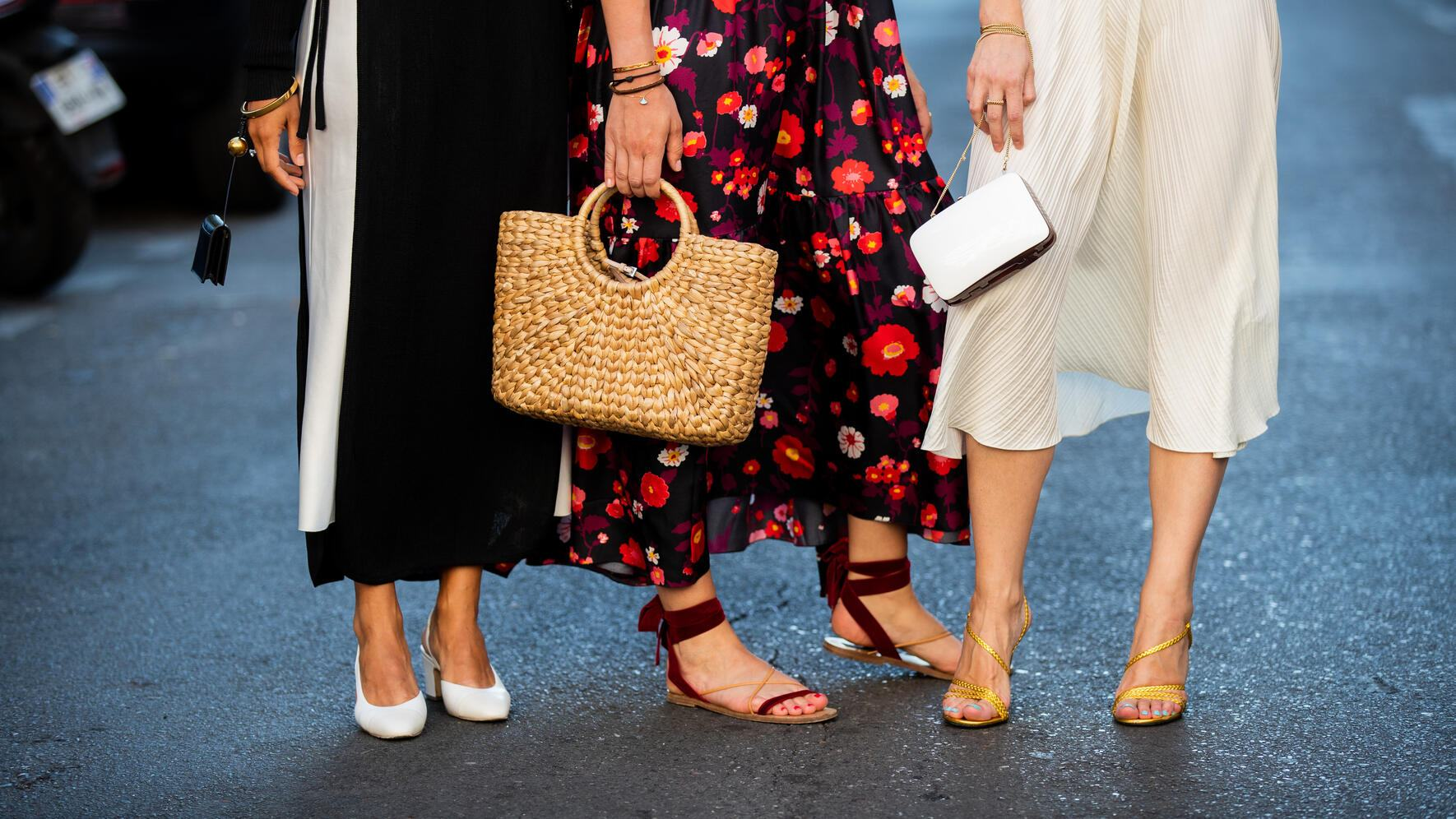 PARIS, FRANCE - JULY 03: Guests seen wearing sandals, straw bag outside Valentino during Paris Fashion Week - Haute Couture Fall/Winter 2019/2020 on July 03, 2019 in Paris, France. (Photo by Christian Vierig/Getty Images)