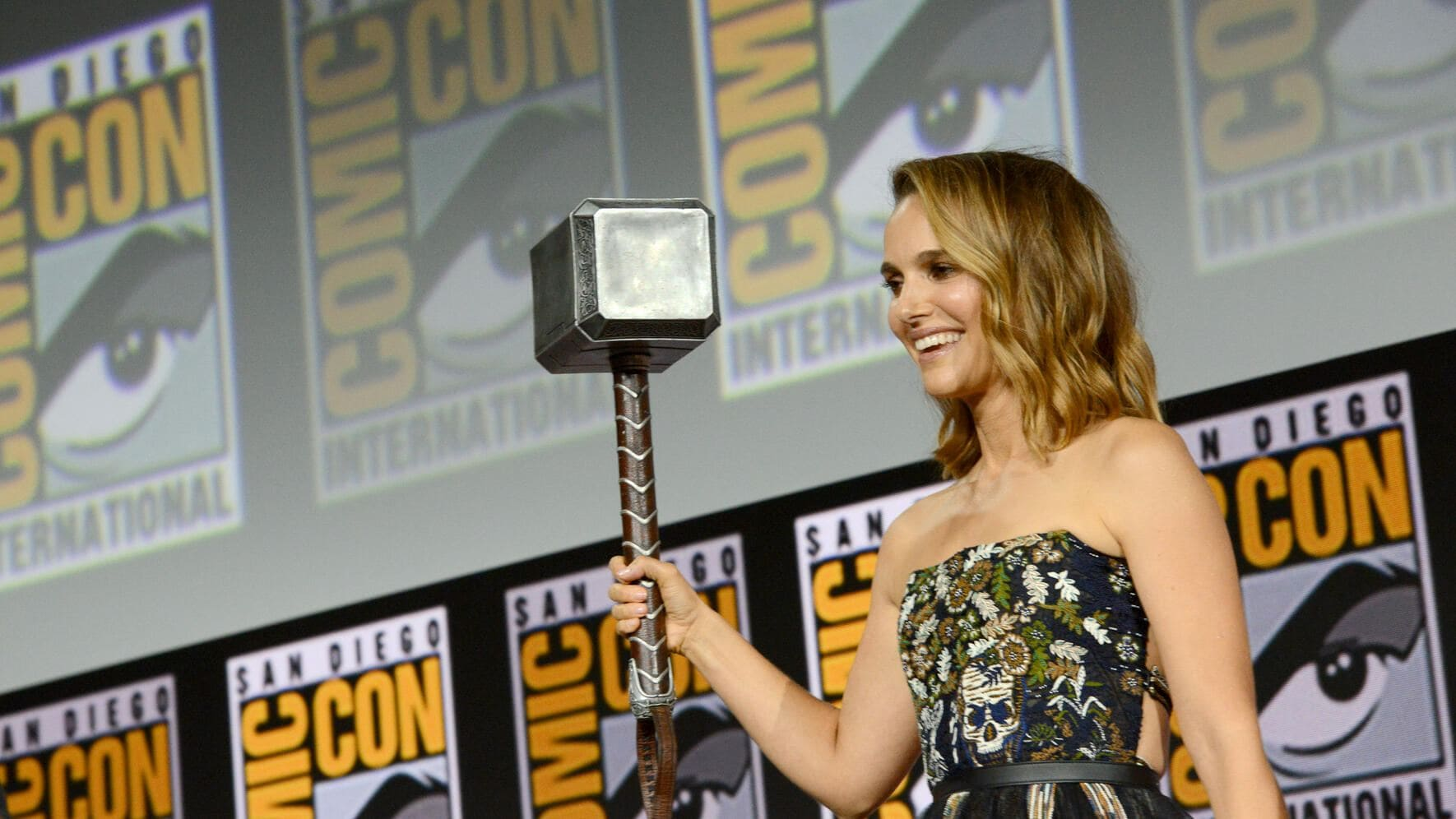 SAN DIEGO, CALIFORNIA - JULY 20: Natalie Portman speaks at the Marvel Studios Panel during 2019 Comic-Con International at San Diego Convention Center on July 20, 2019 in San Diego, California. (Photo by Albert L. Ortega/Getty Images)