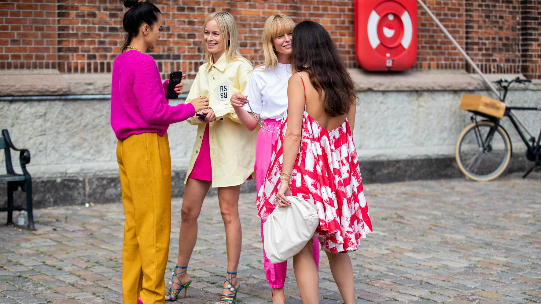 COPENHAGEN, DENMARK - AUGUST 07: Guests seen outside Rodebjer during Copenhagen Fashion Week Spring/Summer 2020 on August 07, 2019 in Copenhagen, Denmark. (Photo by Christian Vierig/Getty Images)