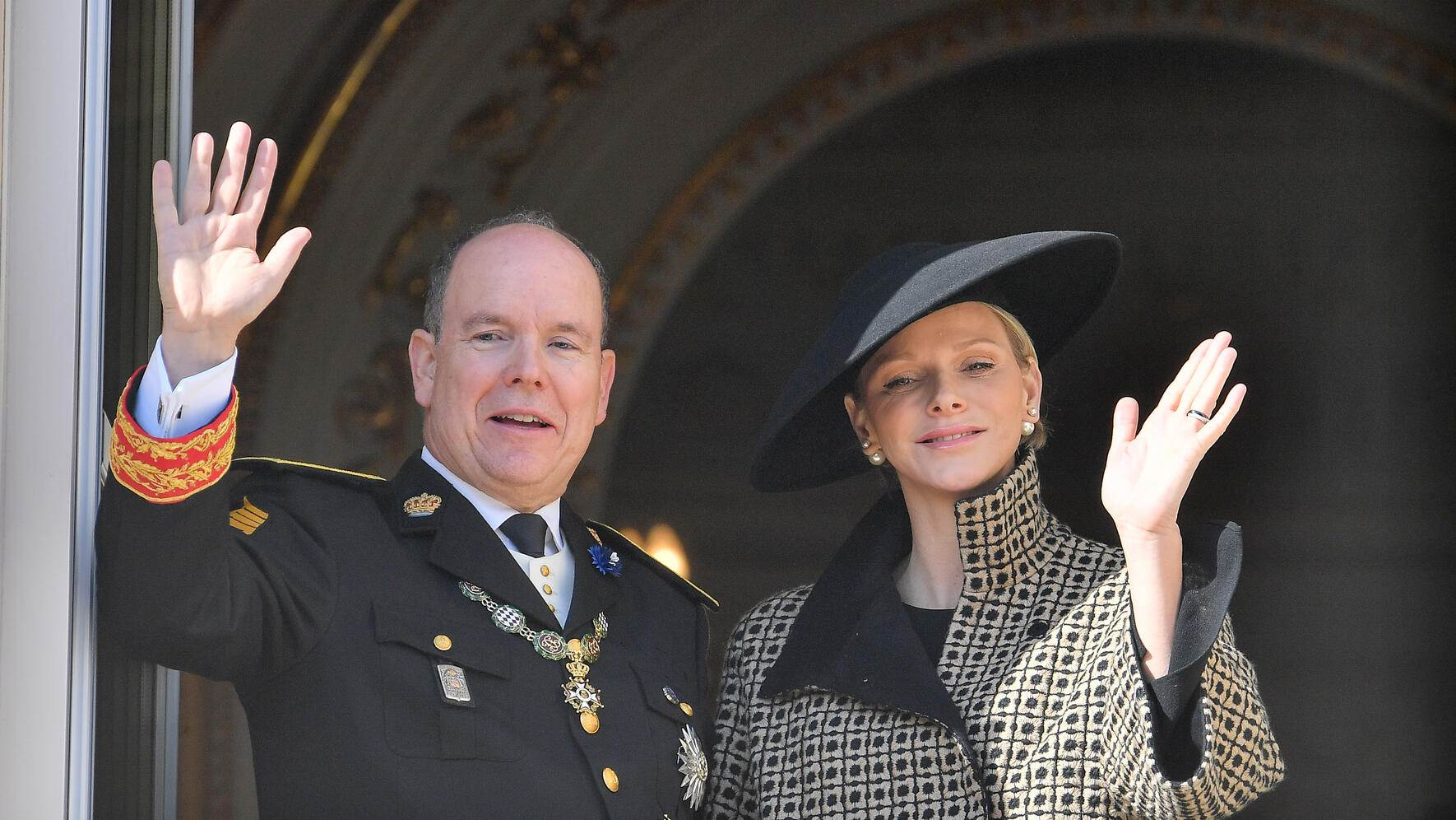 MONTE-CARLO, MONACO - NOVEMBER 19:  (L-R) Prince Albert II of Monaco and Princess Charlene of Monaco attend Monaco National Day Celebrations on November 19, 2018 in Monte-Carlo, Monaco.  (Photo by Stephane Cardinale - Corbis/Corbis via Getty Images)