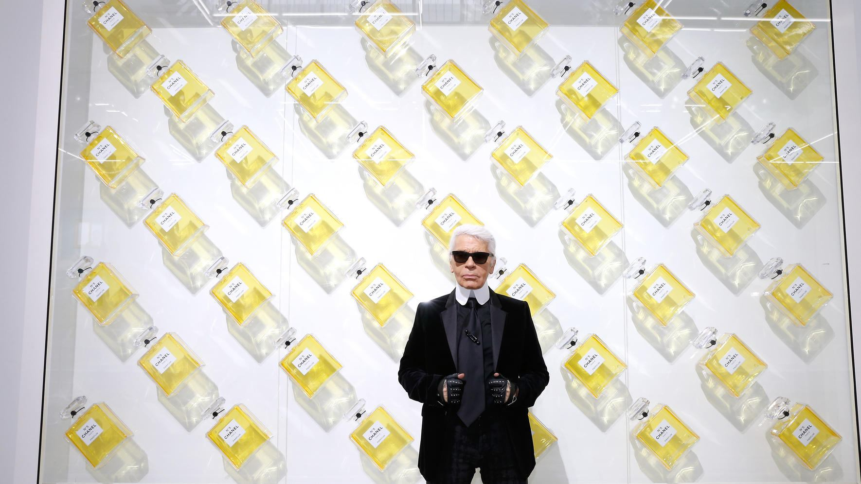 PARIS, FRANCE - OCTOBER 01:  (EDITORS NOTE: This image has been retouched) Fashion designer Karl Lagerfeld poses in front of his works before the Chanel show as part of the Paris Fashion Week Womenswear  Spring/Summer 2014, held at Grand Palais on October 1, 2013 in Paris, France.  (Photo by Bertrand Rindoff Petroff/Getty Images)