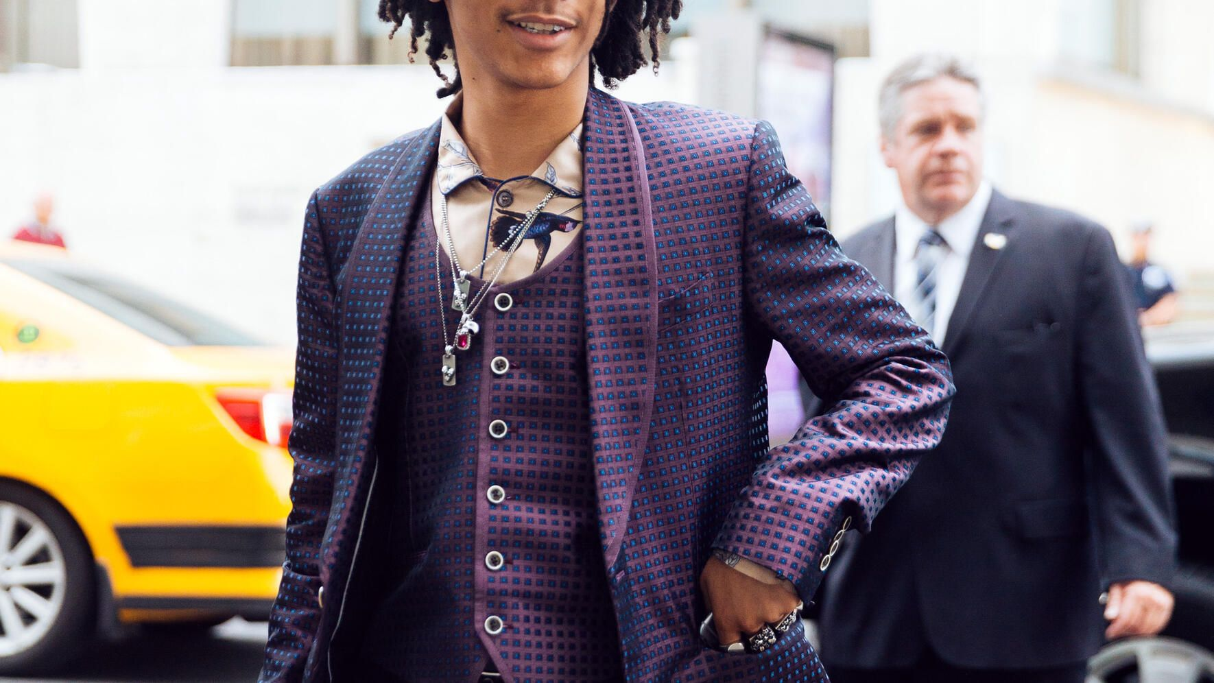 NEW YORK, NY - JUNE 07:  Model/Stylist Luka Sabbat wears a blue and purple square-print Dolce & Gabbana 3-piece suit and jewelry outside of the Fragrance Awards at Alice Tully Hall Lincoln Center on June 7, 2016 in New York City.  (Photo by Melodie Jeng/Getty Images)