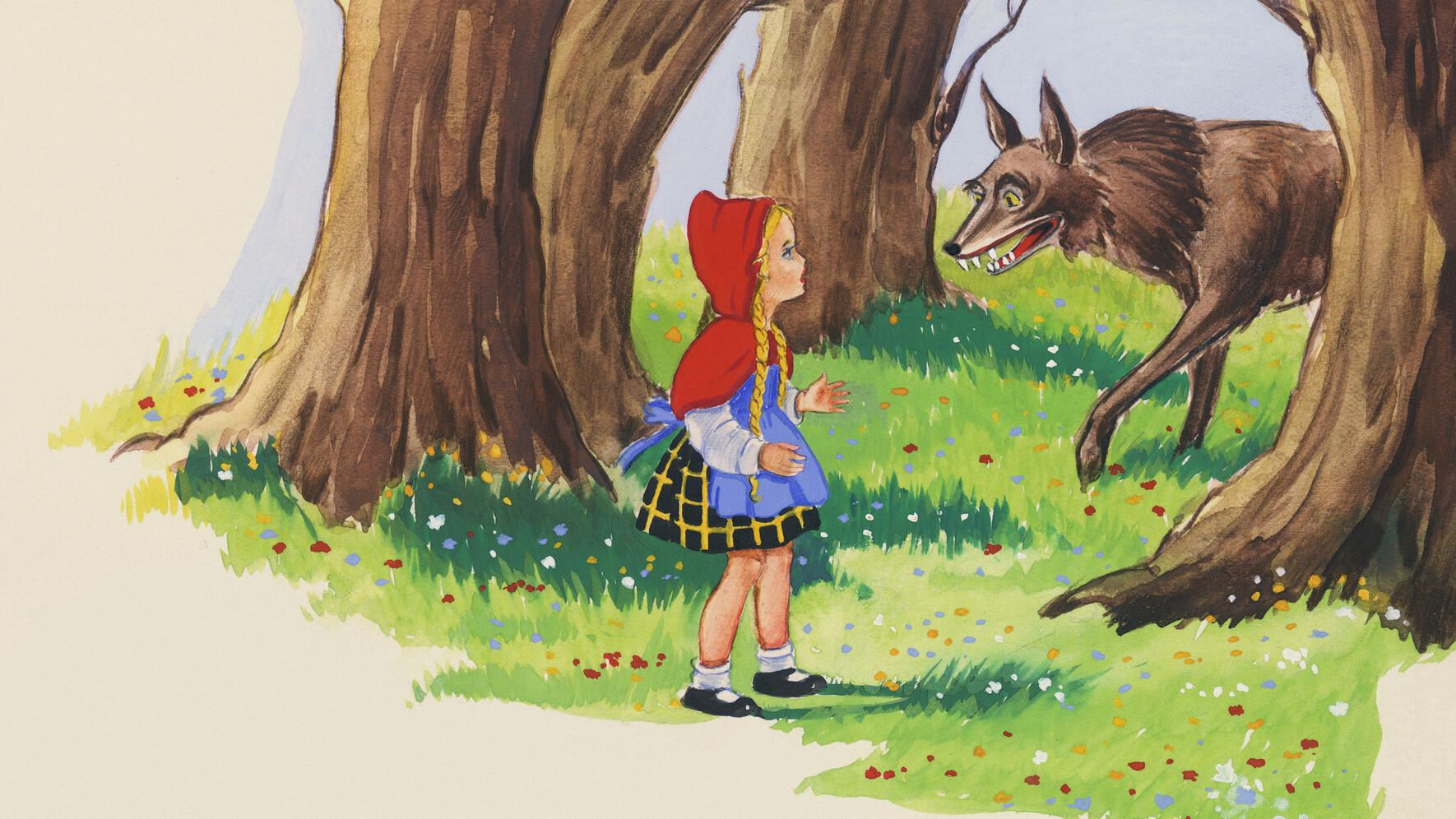 Little Red Riding Hood meeting with the wolf, illustration for the European fairy tale Little Red Riding Hood, drawing.