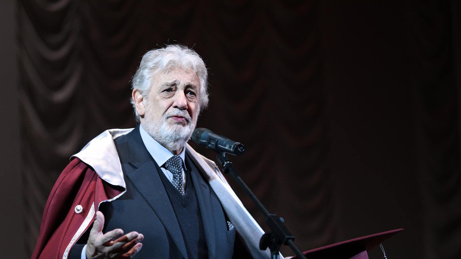 Spanish opera singer Placido Domingo delivers a speech after he accepted the Honorary Professor title at the Pyotr Tchaikovsky National Music Academy of Ukraine (NMAU) in Kyiv, capital of Ukraine, February 14, 2019. Ukrinform. (Photo credit should read Danil Shamkin / Barcroft Media via Getty Images)