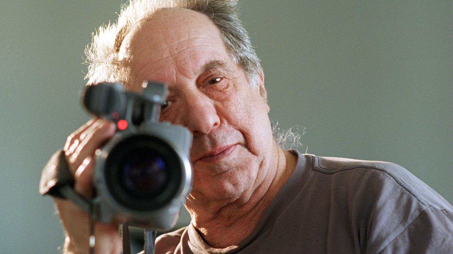 CA.Frank.#3.PD.3–1: photograph of reknowned photographer/filmaker Robert Frank, as he videos the photographer shooting him. Frank is in LA for a major retrospective of his work at the Lannan Foundation. LATphoto: Patrick Downs  (Photo by Patrick Downs/Los Angeles Times via Getty Images)