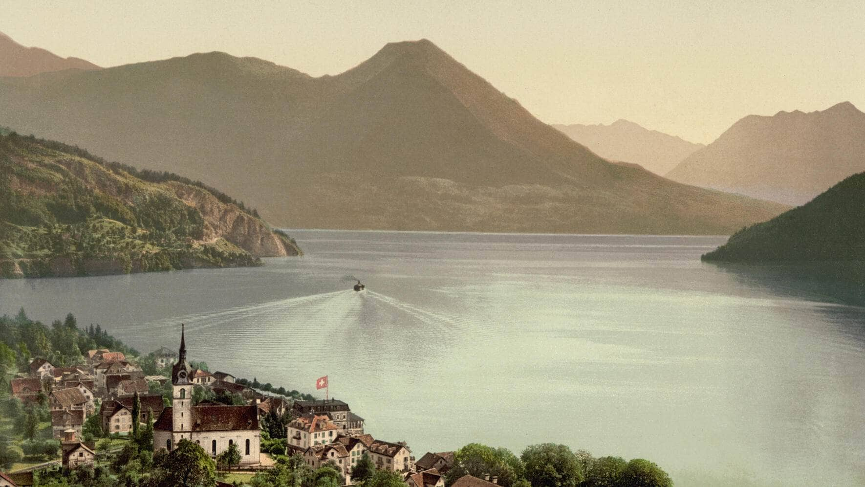Lake Lucerne, Vitznau, Switzerland, Photochrome Print, circa 1900.  (Photo by: Universal History Archive/Universal Images Group via Getty Images)
