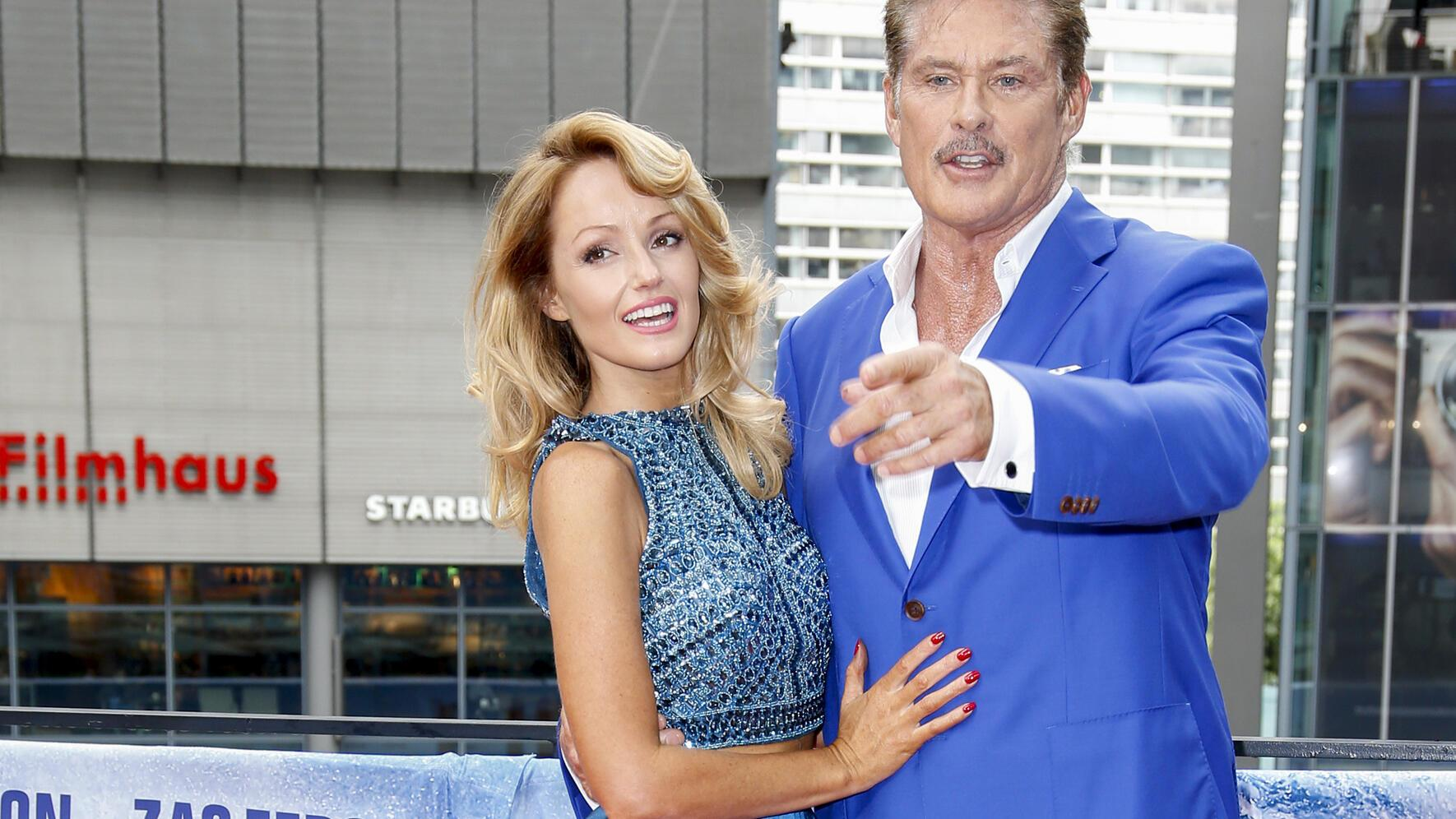 BERLIN, GERMANY - MAY 30: US actor David Hasselhoff and his partner Hayley Roberts attend the 'Baywatch' Photo Call in Berlin on May 30, 2017 in Berlin, Germany. (Photo by Isa Foltin/WireImage)