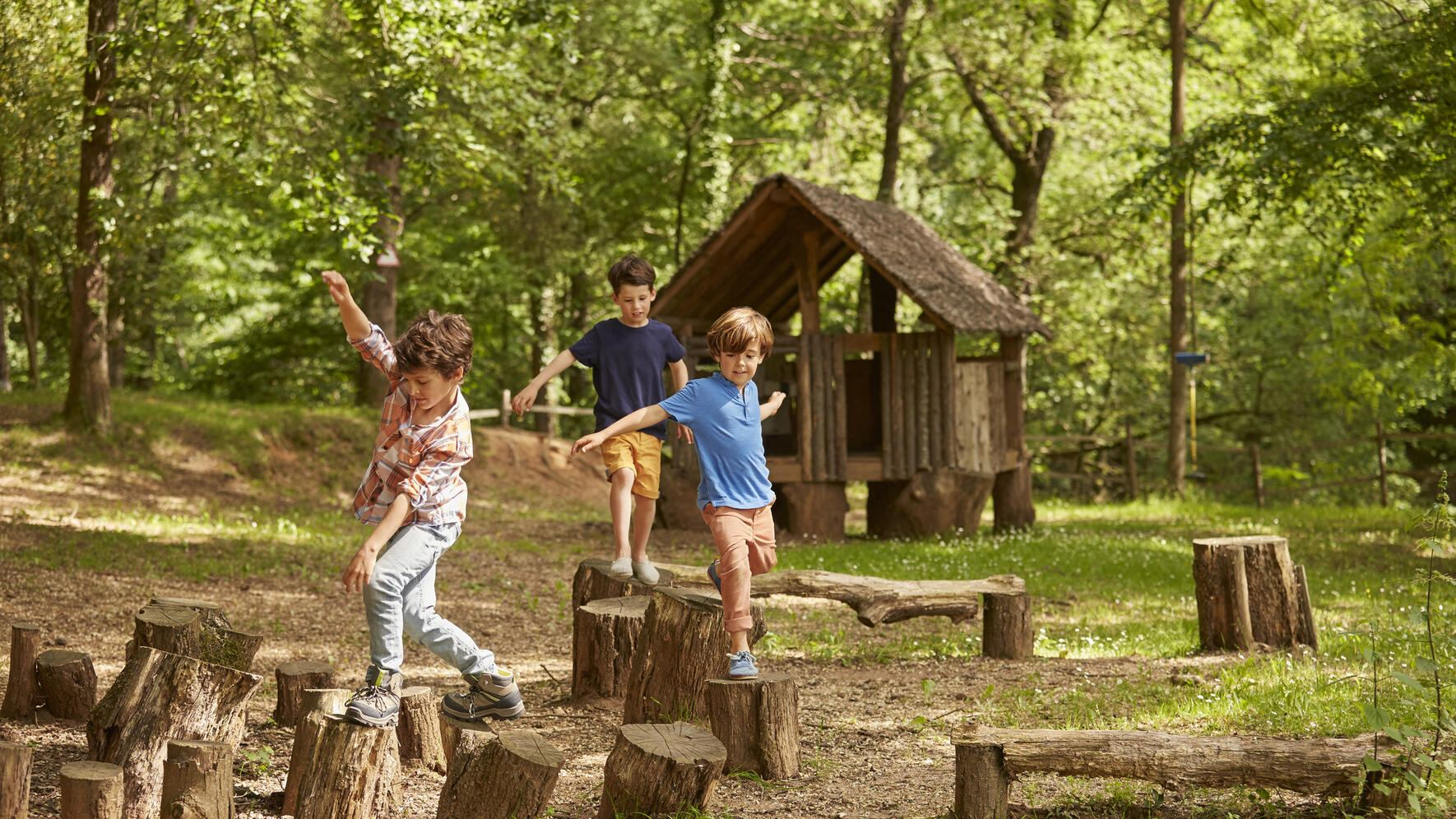 Boys playing on tree stumps in forest. Friends are wearing casuals. They are spending leisure time together.