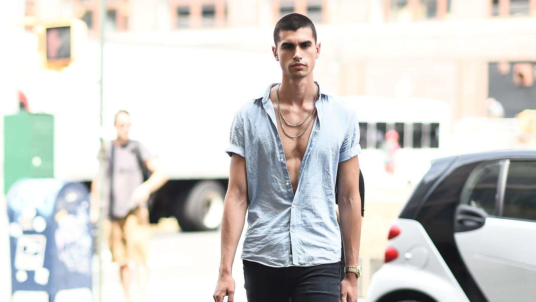 NEW YORK, NY - JULY 12:  A model is seen outside the Parke & Ronen show during New York Fashion Week: Men's S/S 2018 at Skylight Clarkson Sq on July 12, 2017 in New York City.  (Photo by Daniel Zuchnik/Getty Images)