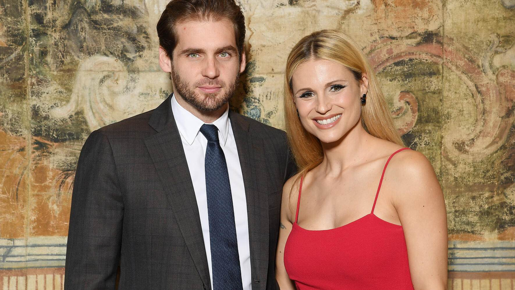 ROME, ITALY - NOVEMBER 01:  Michelle Hunziker and Tomaso Trussardi attend Doppia Difesa Gala during the 12th Rome Film Fest at Hotel Bernini Bristol on November 1, 2017 in Rome, Italy.  (Photo by Venturelli/Getty Images)
