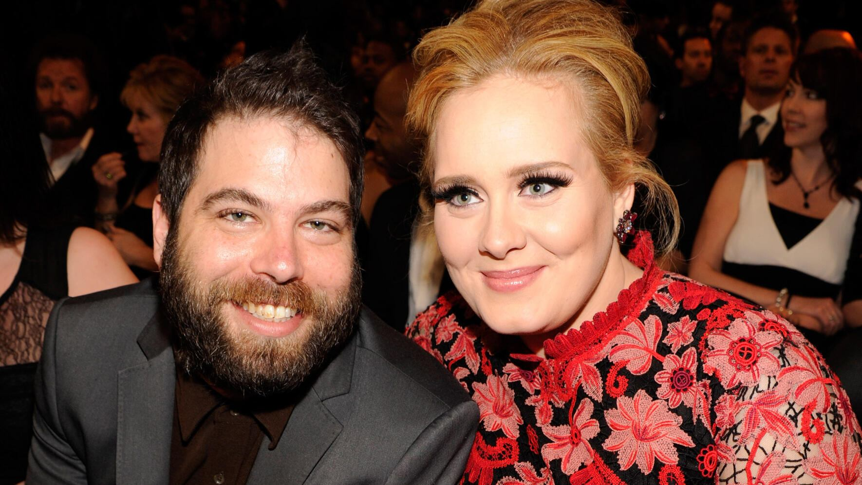 LOS ANGELES, CA - FEBRUARY 10:  Adele (R) and Simon Konecki attend the 55th Annual GRAMMY Awards at STAPLES Center on February 10, 2013 in Los Angeles, California.  (Photo by Kevin Mazur/WireImage)