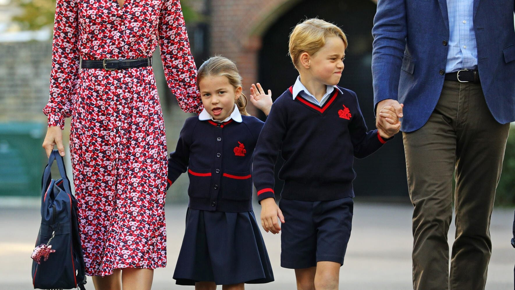 LONDON, UNITED KINGDOM - SEPTEMBER 5: Princess Charlotte, waves as she arrives for her first day at school, with her brother Prince George and her parents the Duke and Duchess of Cambridge, at Thomas's Battersea in London on September 5, 2019 in London, England. (Photo by Aaron Chown - WPA Pool/Getty Images)
