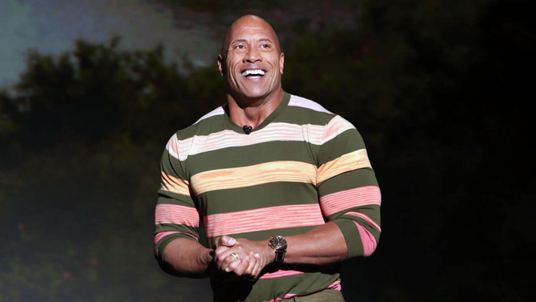 ANAHEIM, CALIFORNIA - AUGUST 24: Dwayne Johnson of 'Jungle Cruise' took part today in the Walt Disney Studios presentation at Disney's D23 EXPO 2019 in Anaheim, Calif.  'Jungle Cruise' will be released in U.S. theaters on July 24, 2020. (Photo by Jesse Grant/Getty Images for Disney)