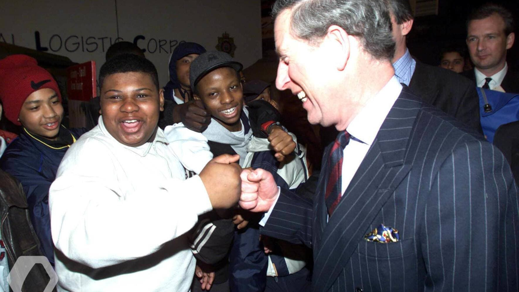 Prince of Wales greets Tyrone Lyndo,14, from Brixton Southeast London at the Army Ethnic Recruiting Fair held at Wembley Arena, London. The two-day show marks the conclusion of the first year of the Army's ethnic recruitment campaign. *..which has seen 400 recruitment events in 25 locations. (KEYSTONE/PRESS ASSOCIATION IMAGES/PA)