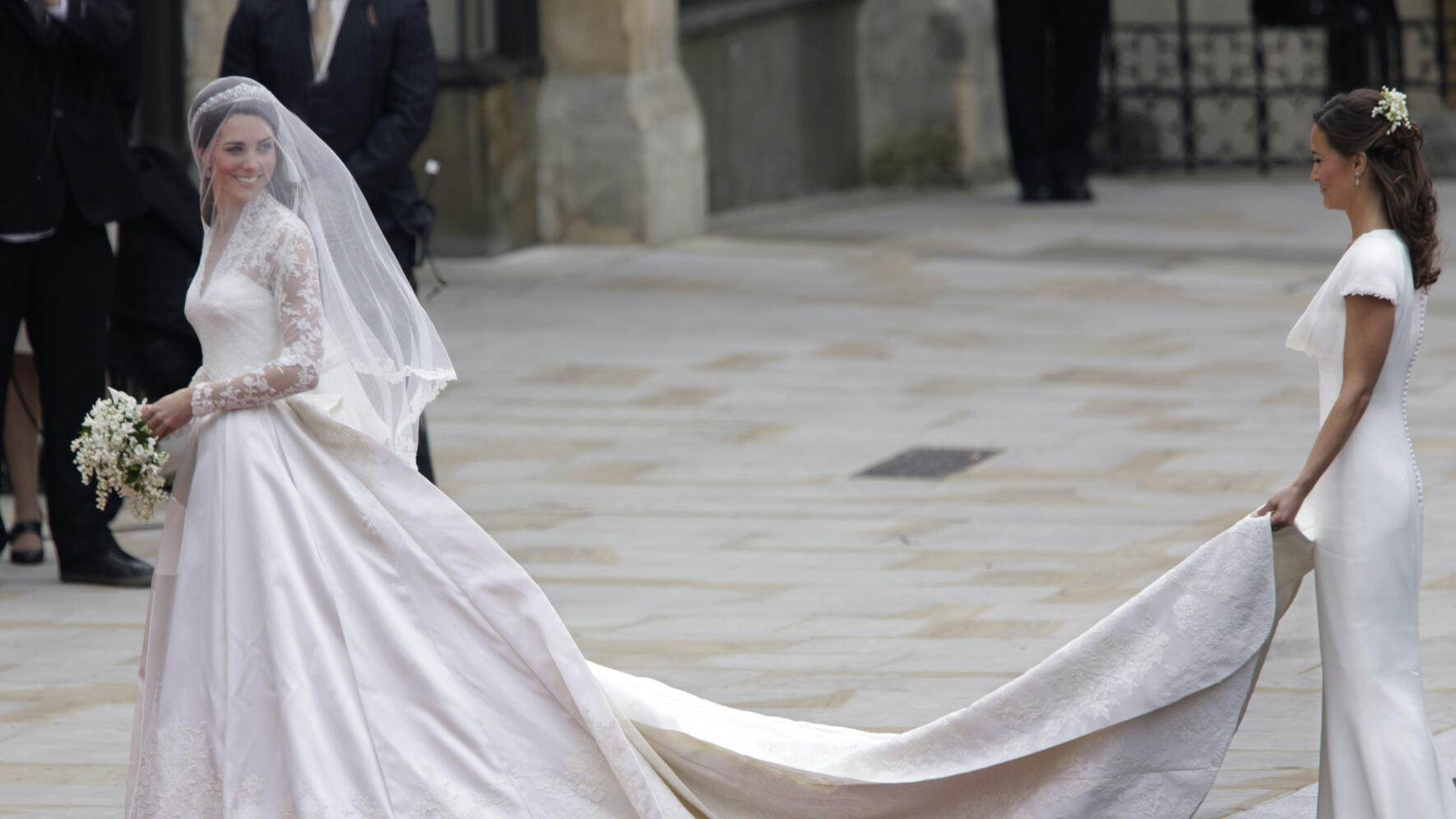 Kate Middleton arrives at Westminster Abbey for her royal wedding to Britain's Prince William in London. (Photo by Brooks Kraft LLC/Corbis via Getty Images)
