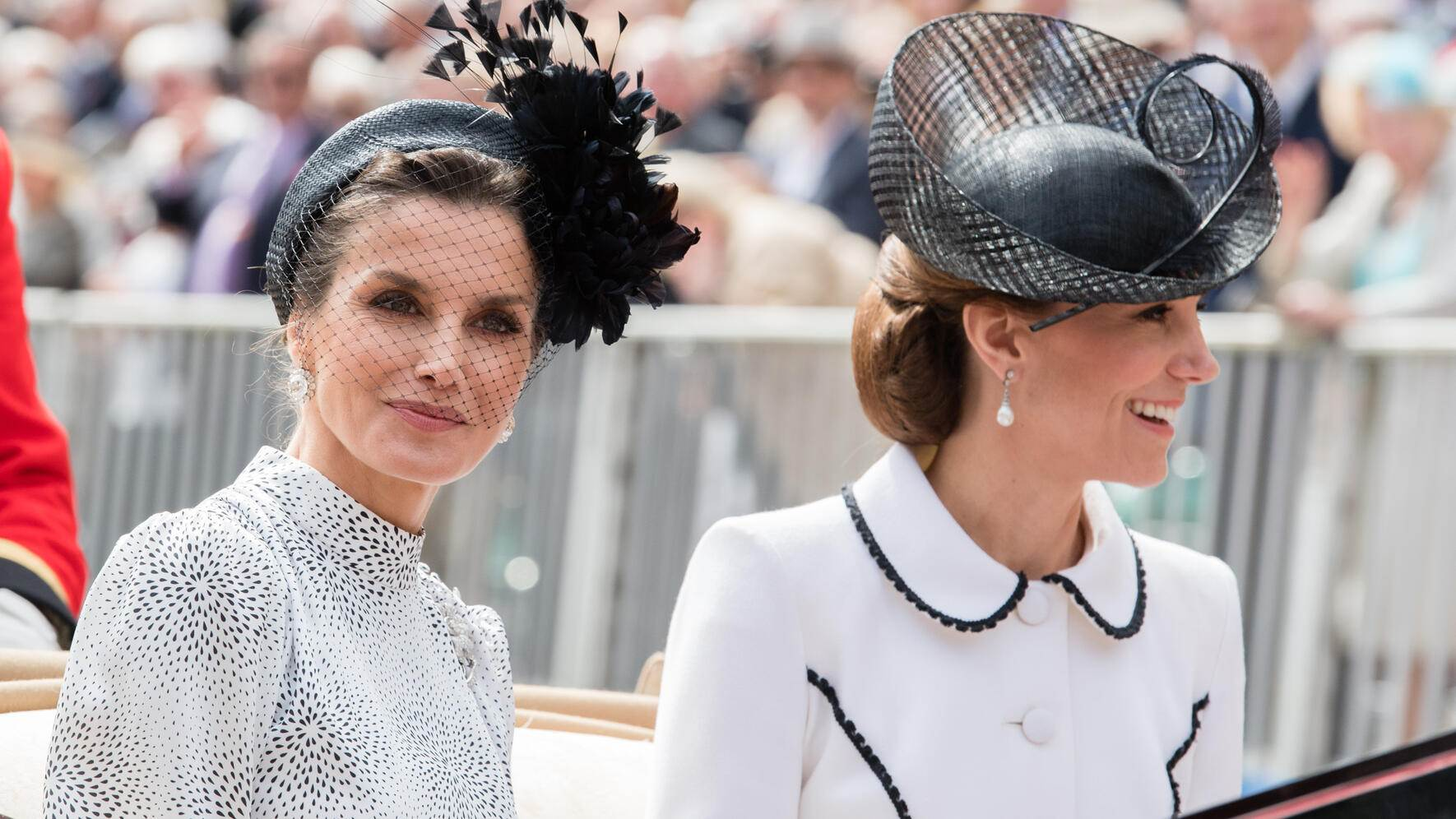 WINDSOR, ENGLAND - JUNE 17:  Queen Letizia of Spain and Catherine, Duchess of Cambridge attend the Order of the Garter Service at St George's Chapel on June 17, 2019 in Windsor, England.  (Photo by Pool/Samir Hussein/WireImage)