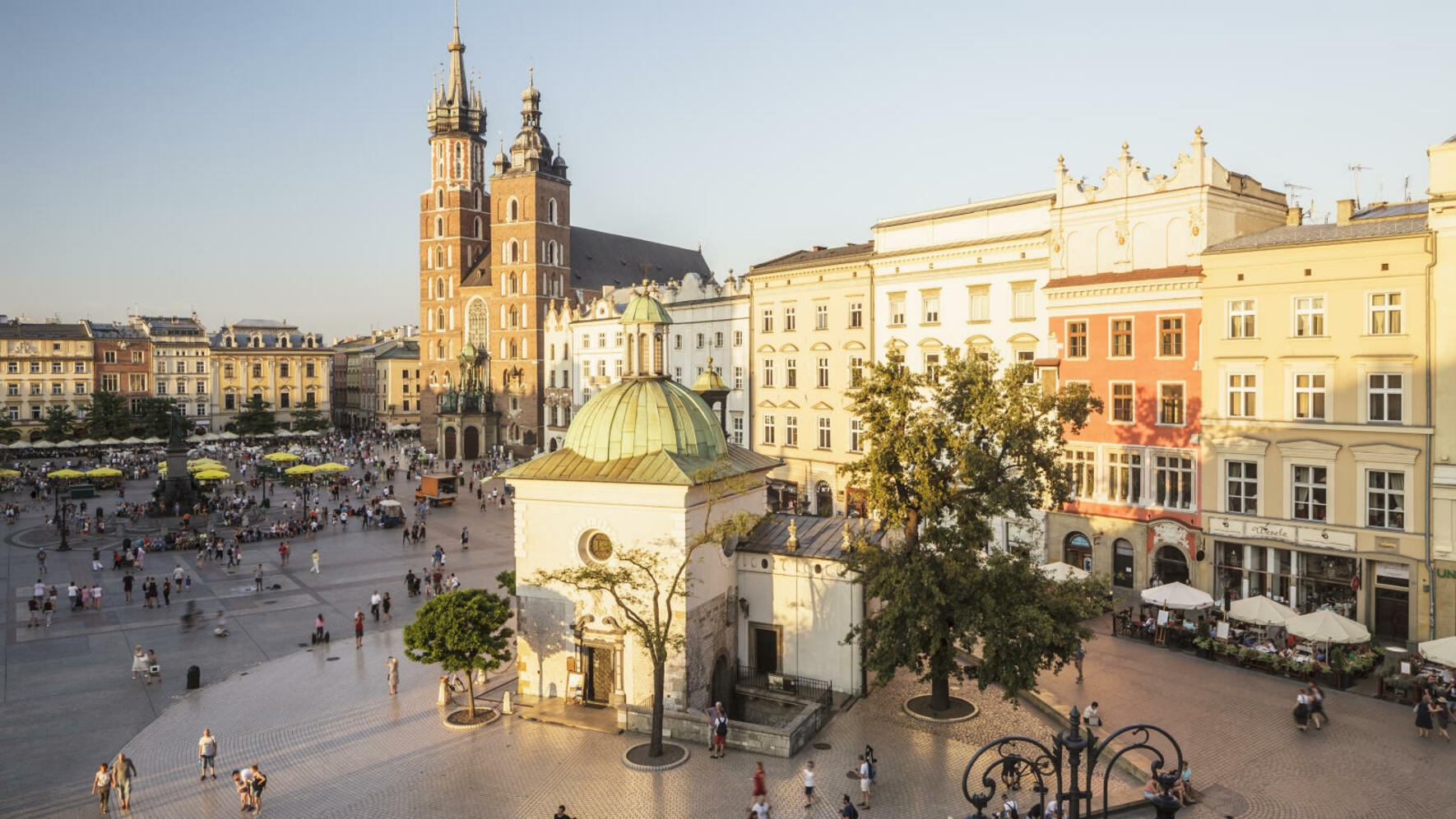 A brick gothic church, St Mary's basilica is in the main market square of Krakow. It was built in the 14th century and is one of the best examples of Polish Gothic architecture.