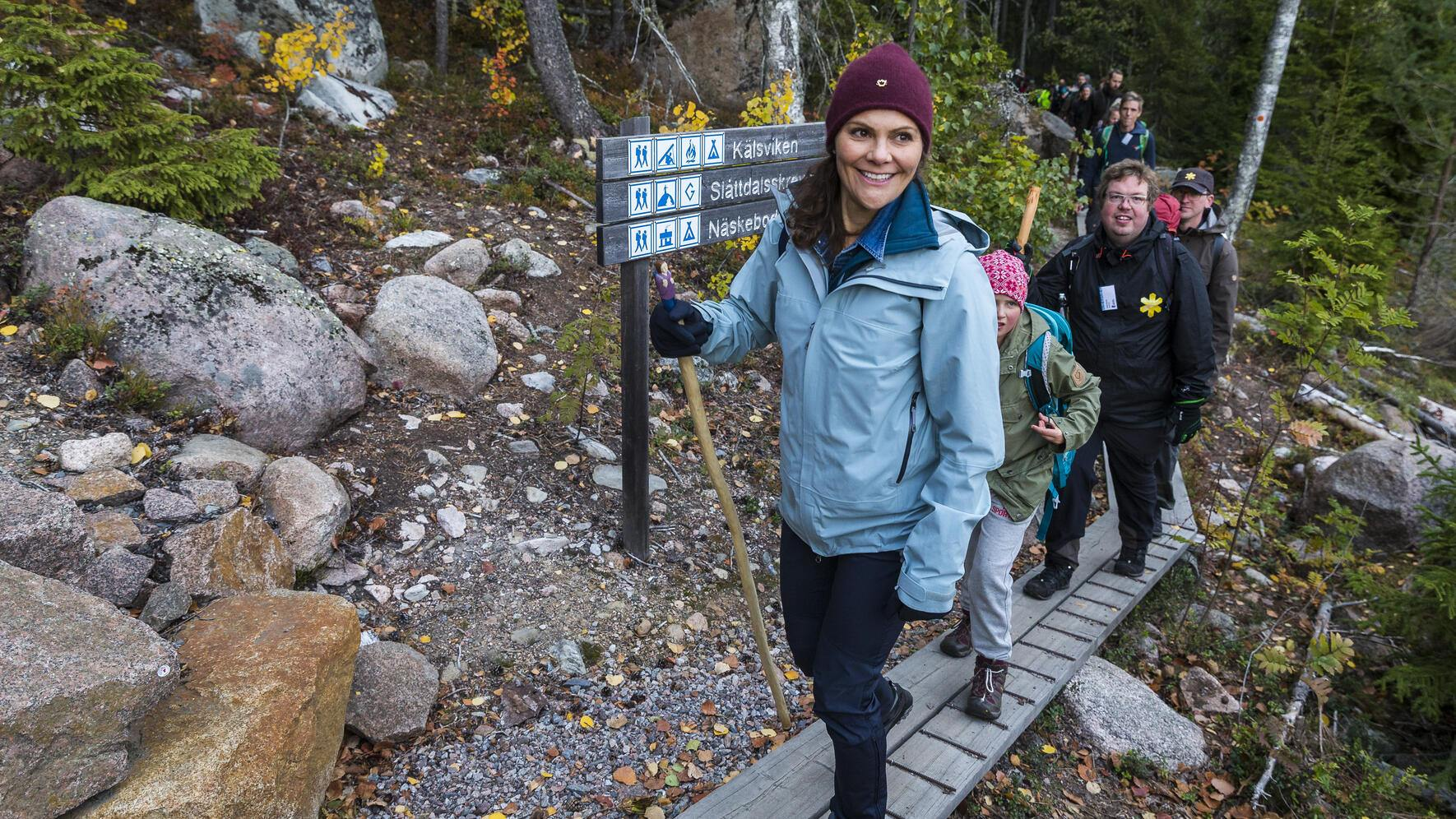 ORNSKOLDSVIK, SWEDEN - OCTOBER 03: Crown Princess Victoria of Sweden is seen hiking in Skuleskogen National Park on October 3, 2018 in Ornskoldsvik, Sweden. The Crown Princess is undertaking a series of hikes through the Swedish landscape that aim to allow her to experience different parts of Sweden during different seasons and to visualize the natural beauty Sweden has to offer. (Photo by MICHAEL CAMPANELLA/WireImage)