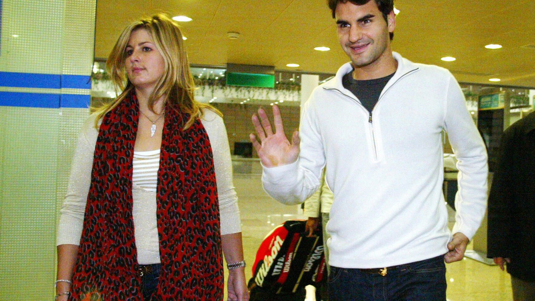 Switzerland's Roger Federer and his girlfriend Mirka Vavrinec