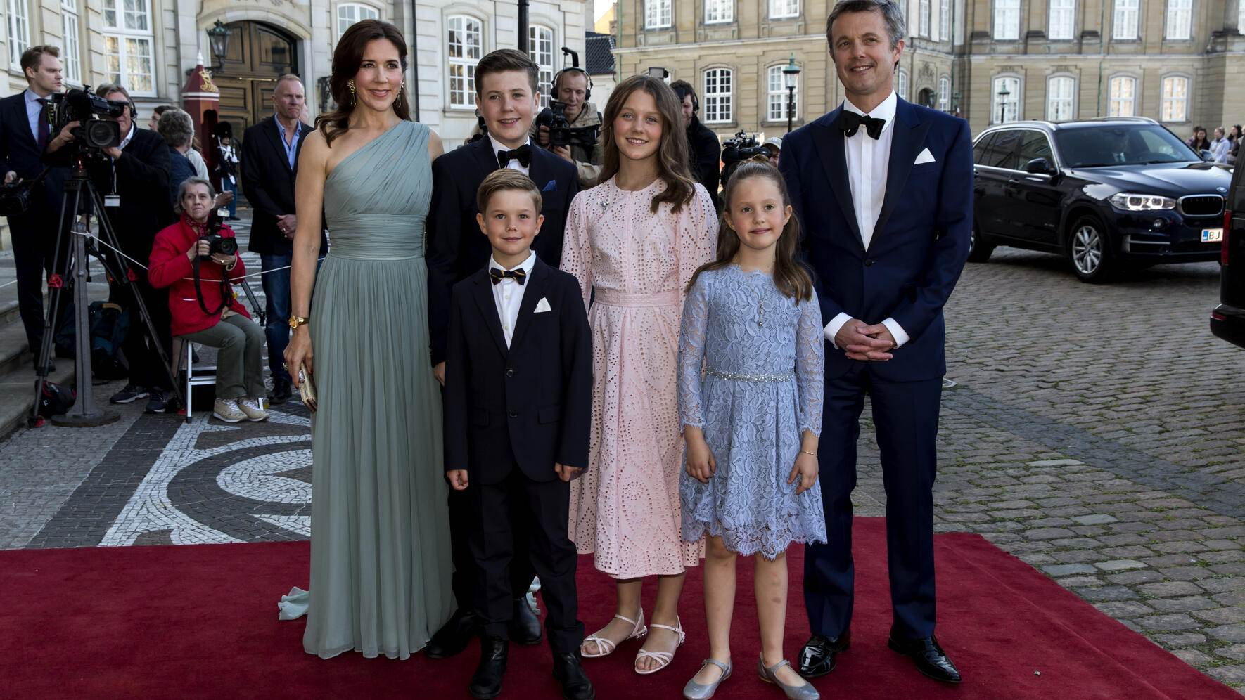 COPENHAGEN, DENMARK - JUNE 07:  Crown Prince Frederik and Crown Princess Mary and their four children arrive at Amalienborg Royal Palace where Queen Margrethe of Denmark host a dinner party  celebrating the 50th  birthday of Prince Joachim on June 7, 2019 in Copenhagen, Denmark. The dinner was held as a private dinner with the nearest family and friends of Prince Joachim.  (Photo by Ole Jensen/Getty Images)