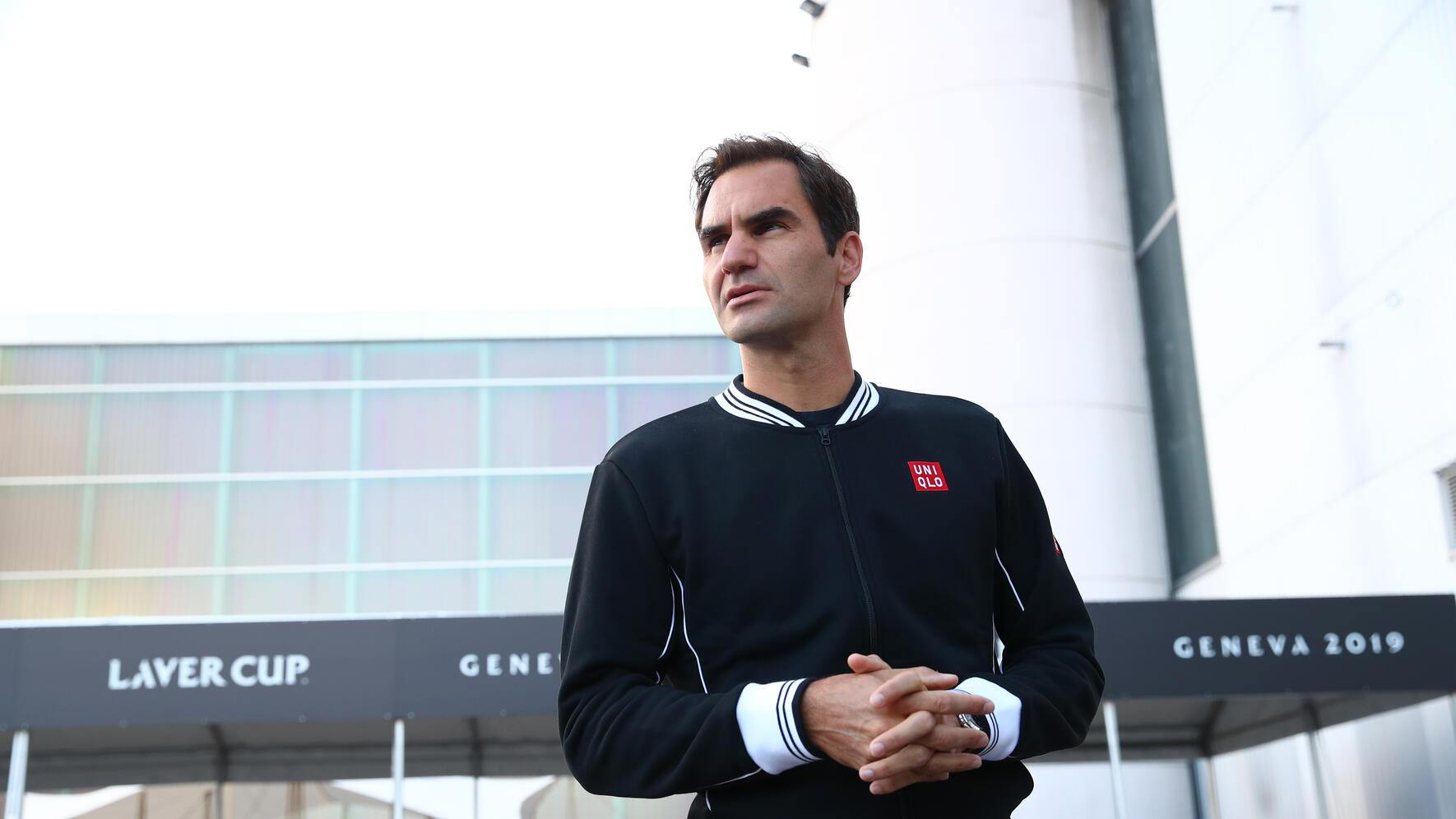 GENEVA, SWITZERLAND - SEPTEMBER 17: Roger Federer of Team Europe takes a first look at the venue prior to the Laver Cup at Palexpo on September 17, 2019 in Geneva, Switzerland. ( The Laver Cup consists of six players from the rest of the World competing against their counterparts from Europe.John McEnroe will captain the Rest of the World team and Europe will be captained by Bjorn Borg)  The event runs from 20-22 Sept.  (Photo by Clive Brunskill/Getty Images for Laver Cup)