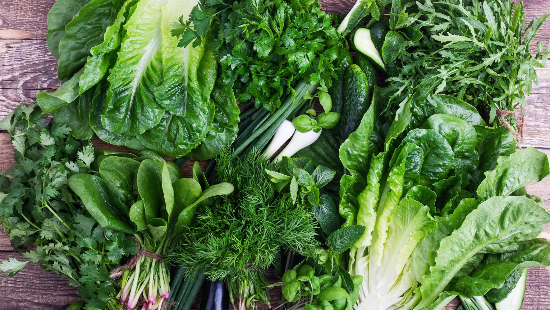 Fresh organic homegrown herbs and leaf vegetables background. Arugula, romaine lettuce,dill, parsley,  cilantro, green onion,basil, cucumber and spinach bunches on wooden background viewed from above