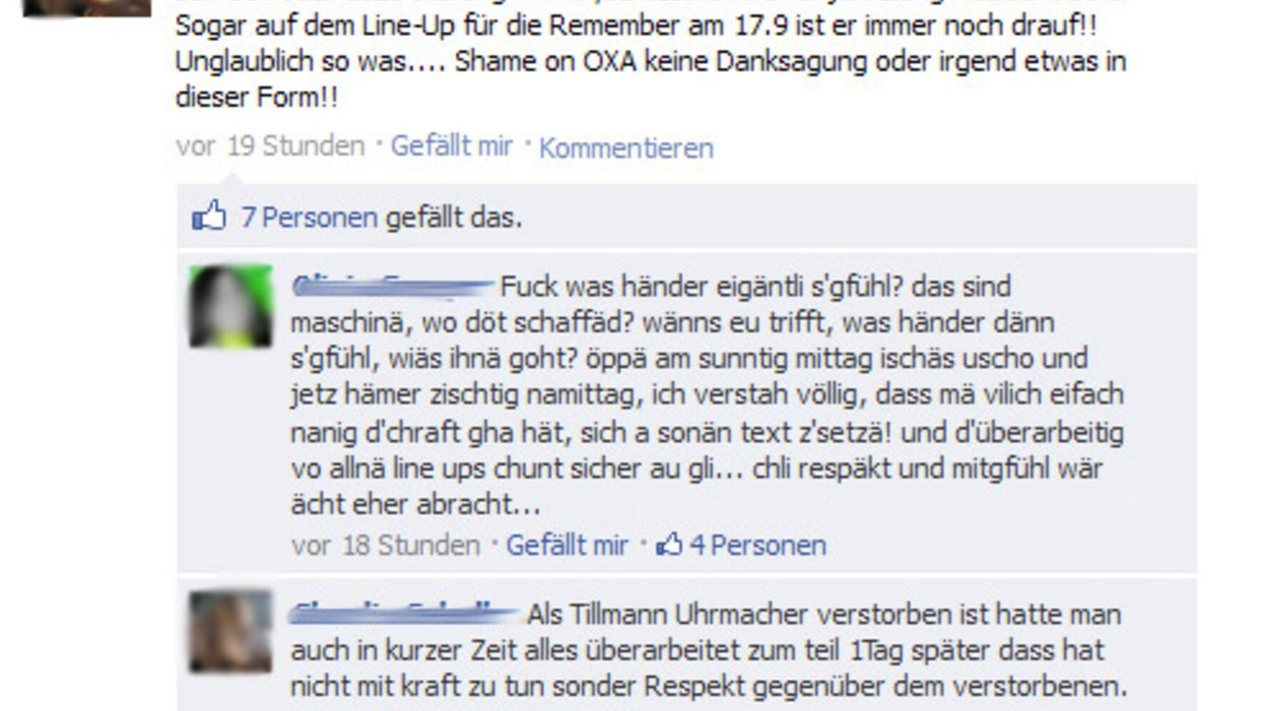 Tod DJ Energy Screenshot Facebook Oxa Reaktionen Fans