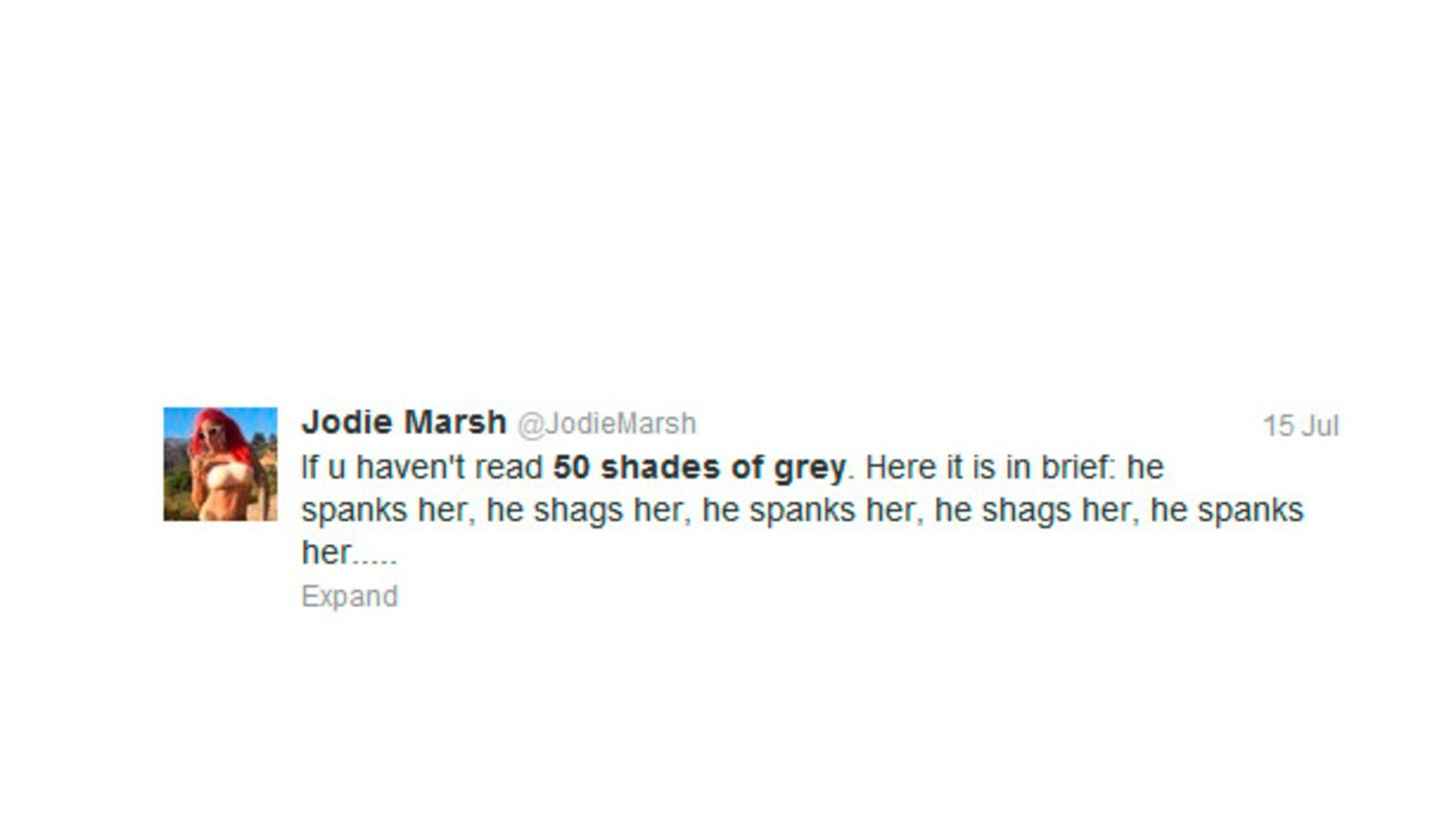 Jodie Marsh 50 Shades of Grey