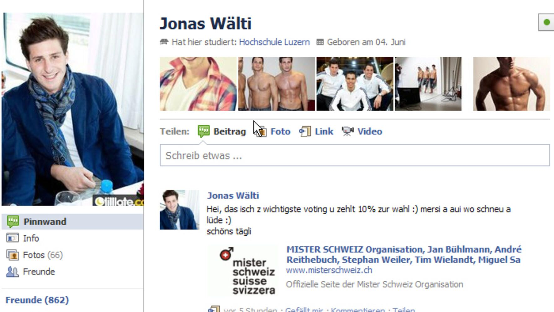 Jonas Wälti Facebook Screenshot
