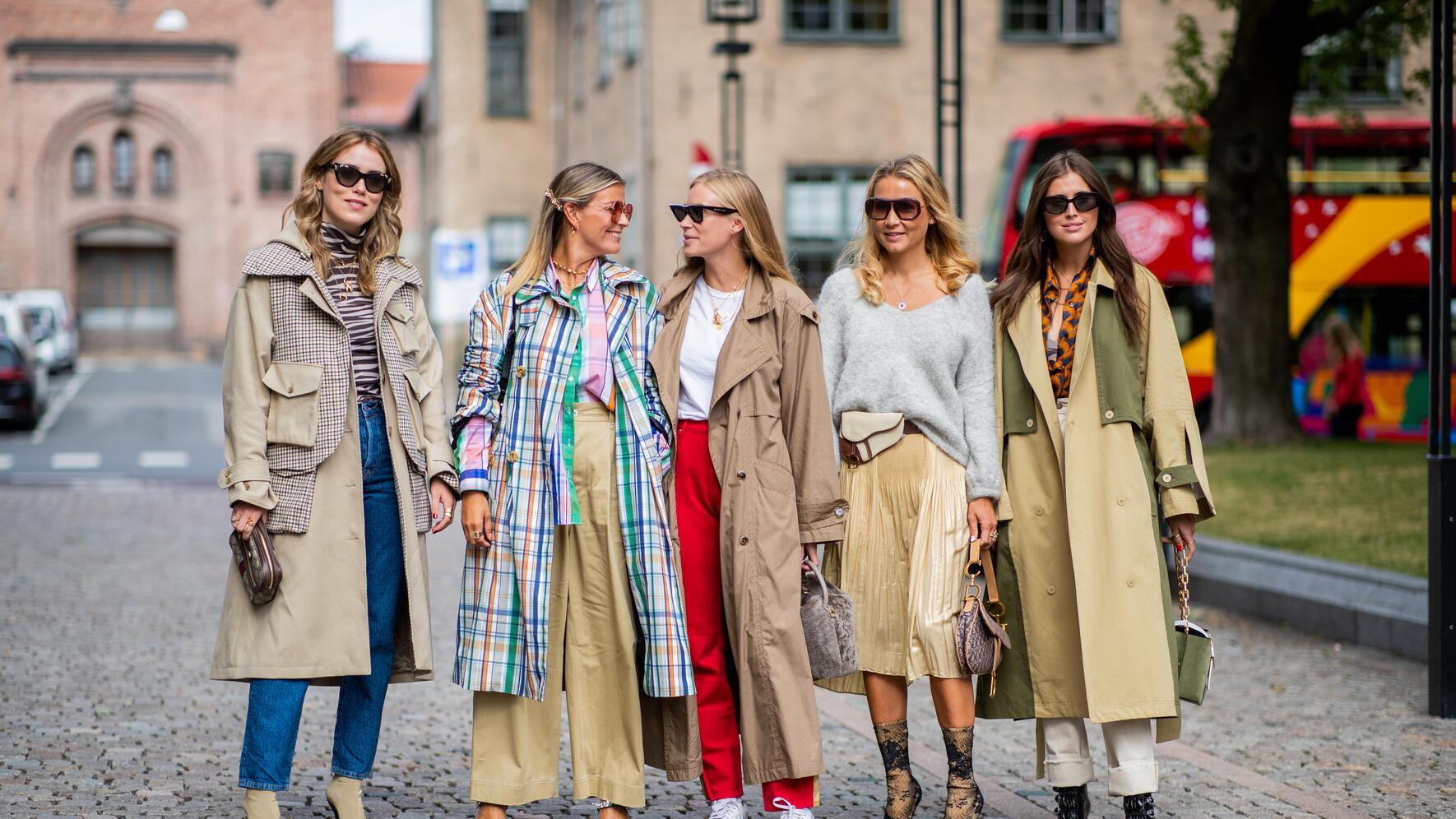 OSLO, NORWAY - AUGUST 14: Annabel Rosendahl, Janka Polliani, Tine Andrea, Line Langmo, Darja Barannik seen outside Cathrine Hammel during Oslo Runway SS19 on August 14, 2018 in Oslo, Norway. (Photo by Christian Vierig/Getty Images)