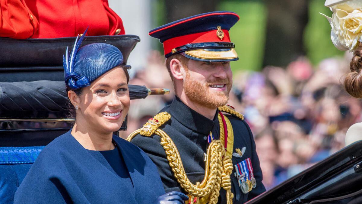 Prince Harry, Meghan Duchess of Sussex during Trooping the Colour ceremony, marking the monarch s official birthday, in London.