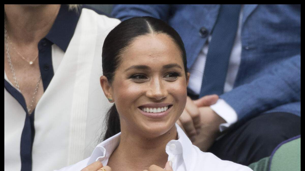 13/07/2019. London, United Kingdom: Kate Middleton, the Duchess of Cambridge,Meghan Markle, the Duchess of Sussex and Pippa Middleton in the Royal Box for the Ladies Final on day twelve of the Wimbledon Tennis Championships in London. (Stephen Lock / i-Images / Polaris) (FOTO:DUKAS/POLARIS)