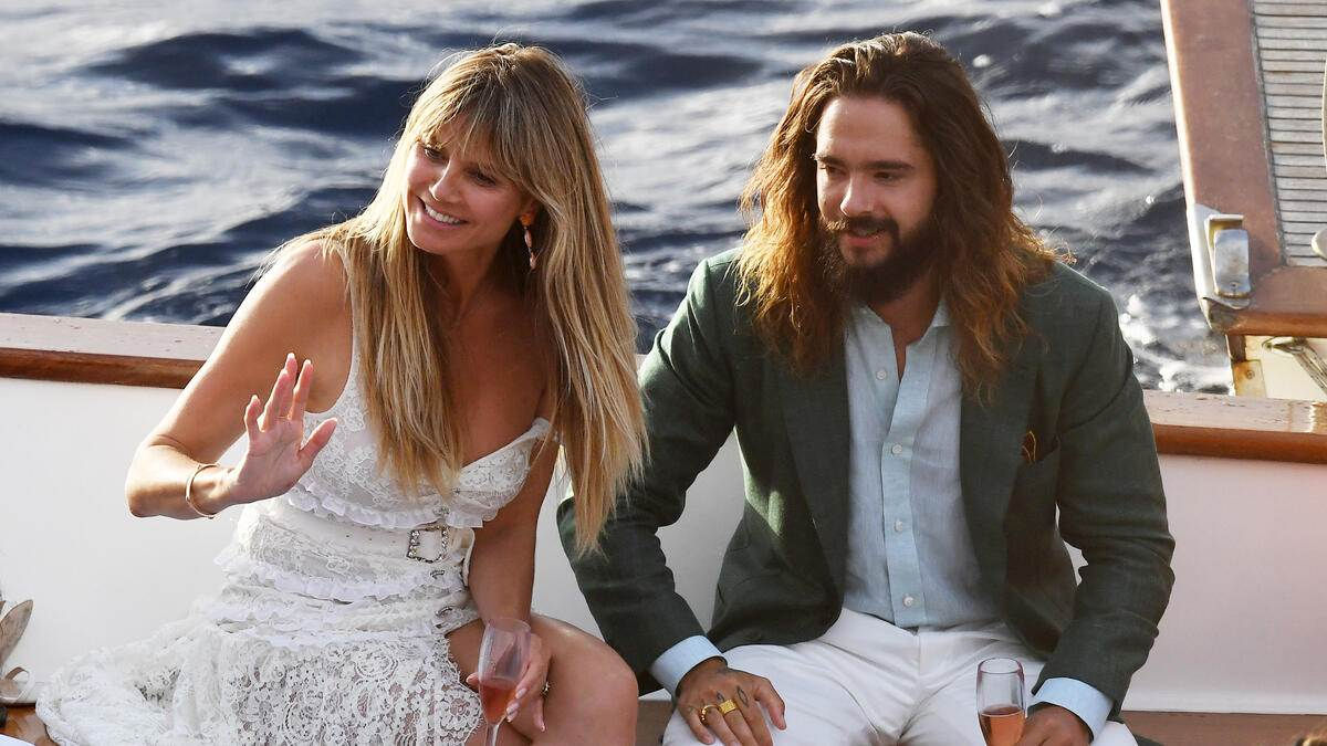 Heidi Klum and Tom Kaulitz are seen at their pre wedding party at Riccio restaurant on August 02, 2019 in Capri, Italy. Photo BEESCOOP.COM