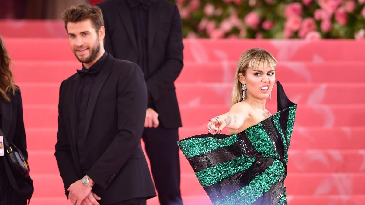 NEW YORK, NY - MAY 06:  Liam Hemsworth and Miley Cyrus arrive to The 2019 Met Gala Celebrating Camp: Notes on Fashion at Metropolitan Museum of Art on May 6, 2019 in New York City.  (Photo by James Devaney/GC Images)