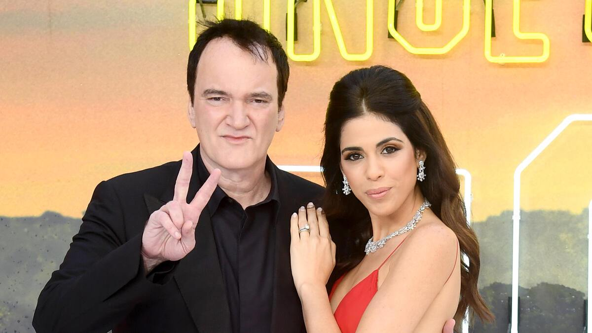 """LONDON, ENGLAND - JULY 30:  Director Quentin Tarantino and Daniella Pick attend the """"Once Upon a Time... in Hollywood"""" UK Premiere at the Odeon Luxe Leicester Square on July 30, 2019 in London, England. (Photo by Gareth Cattermole/Getty Images)"""