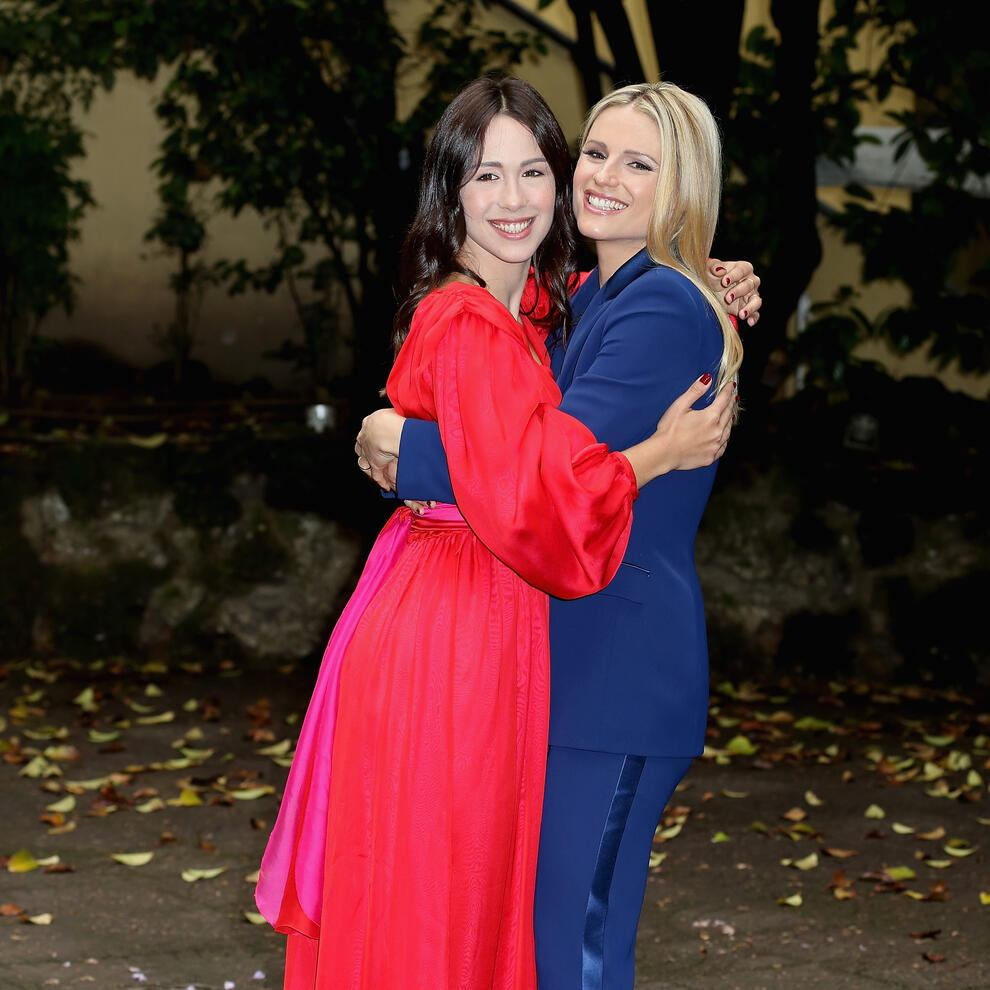 MILAN, ITALY - MAY 03:  Aurora Ramazzotti and Michelle Hunziker attend 'Vuoi Scommettere' photocall  on May 3, 2018 in Milan, Italy  (Photo by Vincenzo Lombardo/Getty Images)