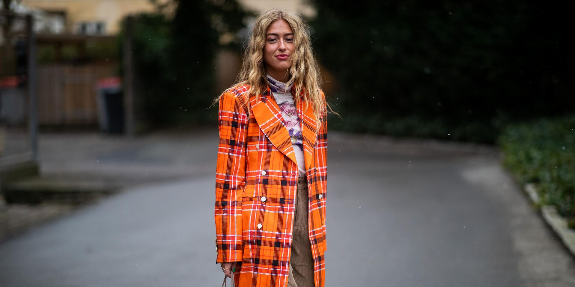COPENHAGEN, DENMARK - JANUARY 31: Emili Sindlev is seen wearing orange plaid coat outside By Malene Birger during the Copenhagen Fashion Week Autumn/Winter 2019 - Day 3 on January 31, 2019 in Copenhagen, Denmark. (Photo by Christian Vierig/Getty Images)