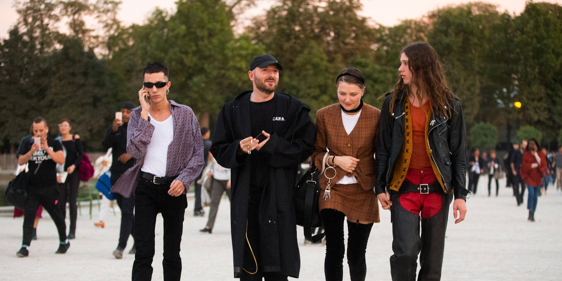 PARIS, FRANCE - SEPTEMBER 27:  Demna Gvasalia, Vetements designer, Lotta Volkova, stylist, after Jacquemus at the Tuileries on September 27, 2016 in Paris, France.  (Photo by Melodie Jeng/Getty Images)