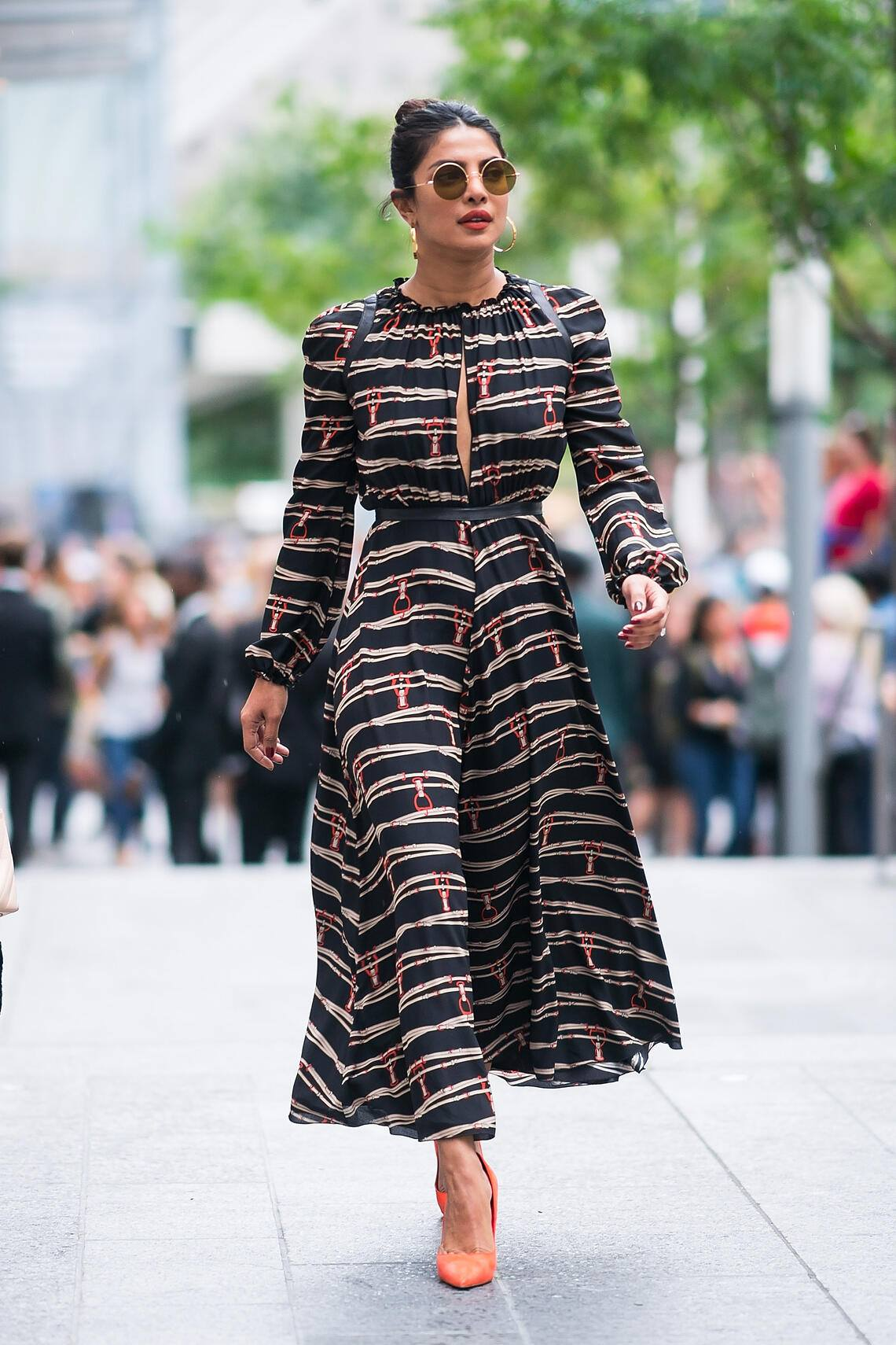 NEW YORK, NY - SEPTEMBER 08:  Priyanka Chopra is seen departing  the Longchamp fashion show during New York Fashion Week in the Financial District on September 8, 2018 in New York City.  (Photo by Gotham/GC Images)