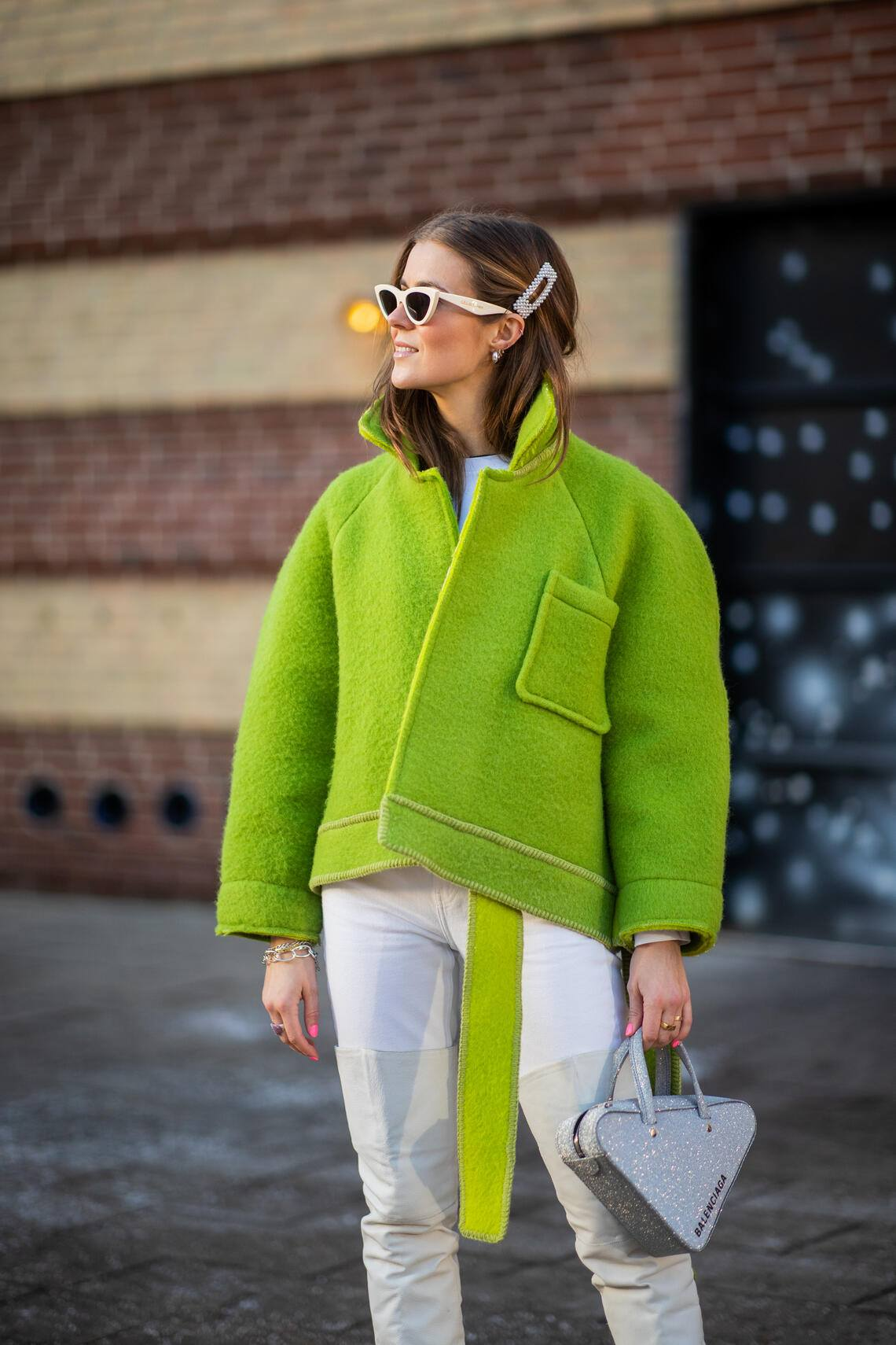 COPENHAGEN, DENMARK - JANUARY 29: Nina Sandbech is seen wearing green jacket, hair clip outside Blanche during the Copenhagen Fashion Week Autumn/Winter 2019 - Day 1 on January 29, 2019 in Copenhagen, Denmark. (Photo by Christian Vierig/Getty Images)