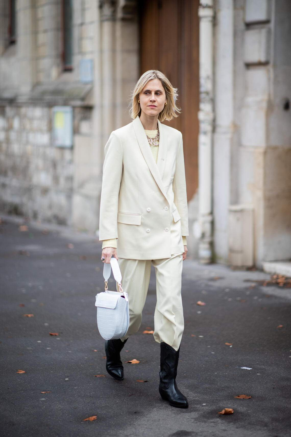 PARIS, FRANCE - MARCH 02: Linda Tol is seen wearing blazer jacket, pants, white Wangler bag, cowboy boots outside Elie Saab during Paris Fashion Week Womenswear Fall/Winter 2019/2020 on March 02, 2019 in Paris, France. (Photo by Christian Vierig/Getty Images)