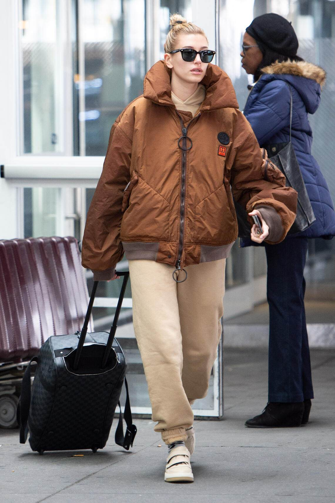 NEW YORK, NY - MARCH 04: Hailey Baldwin seen at JFK airport on March 4, 2019 in New York City. (Photo by Adrian Edwards/GC Images)