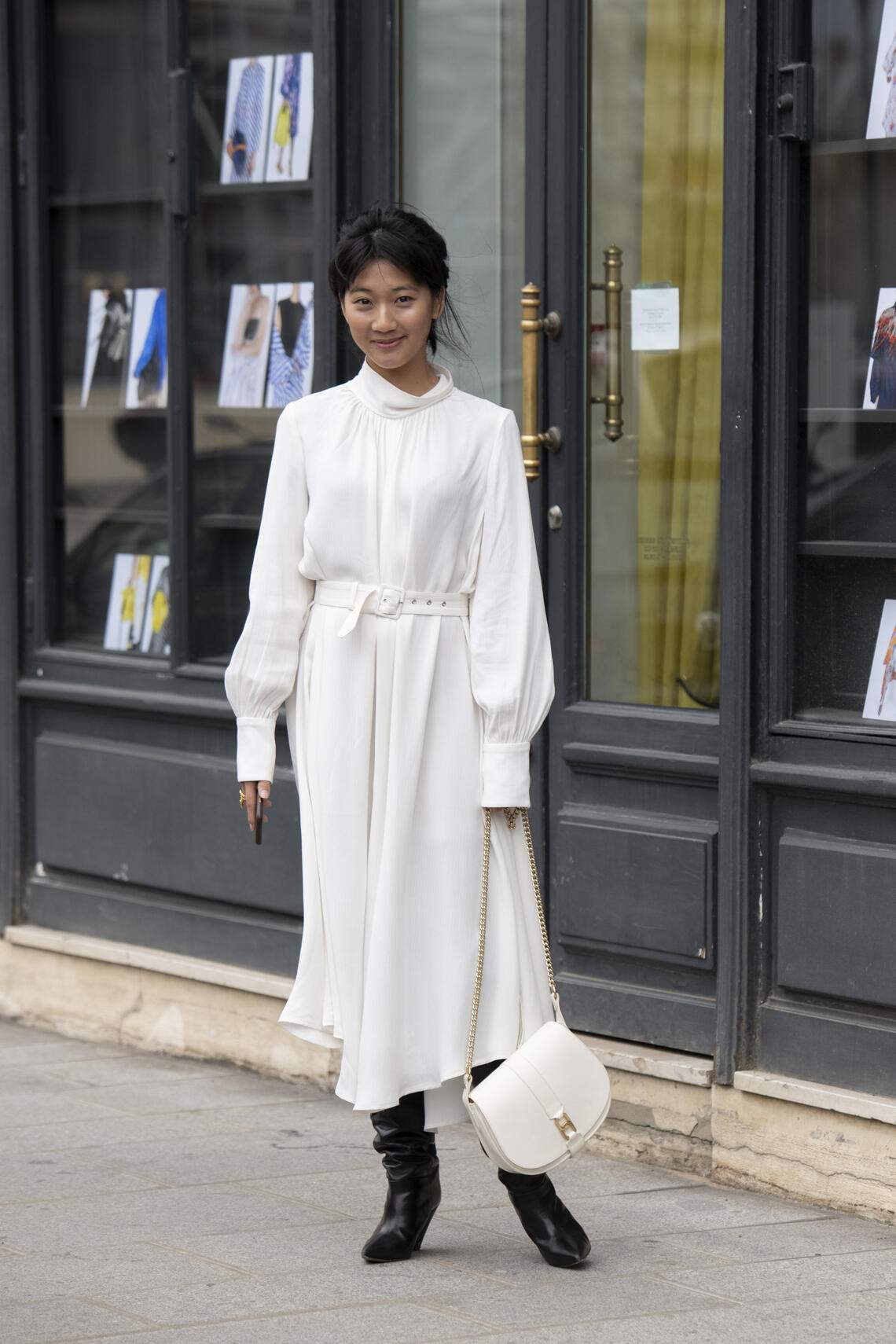 PARIS, FRANCE - MARCH 03: Digital Influencer Zaneta Cheng wears a Rachel Comey dress, Isabel Marant boots and an APC bag on March 03, 2019 in Paris, France. (Photo by Kirstin Sinclair/Getty Images)