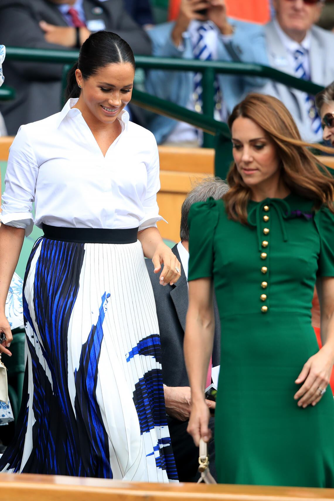 The Duchess of Cambridge and The Duchess of Sussex on day twelve of the Wimbledon Championships at the All England Lawn Tennis and Croquet Club, Wimbledon. (Photo by Adam Davy/PA Images via Getty Images)